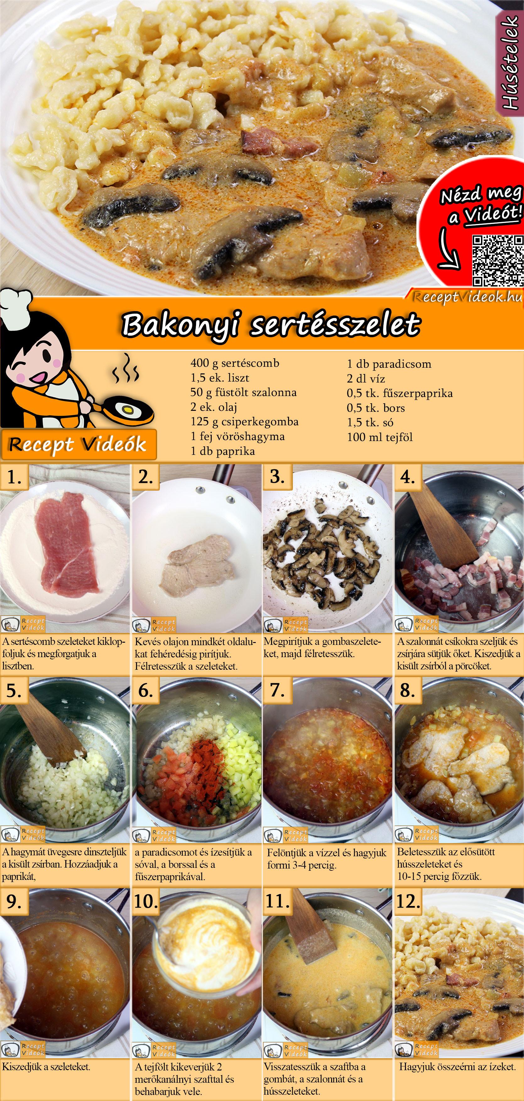 Bakonyi sertésszelet recept elkészítése videóval