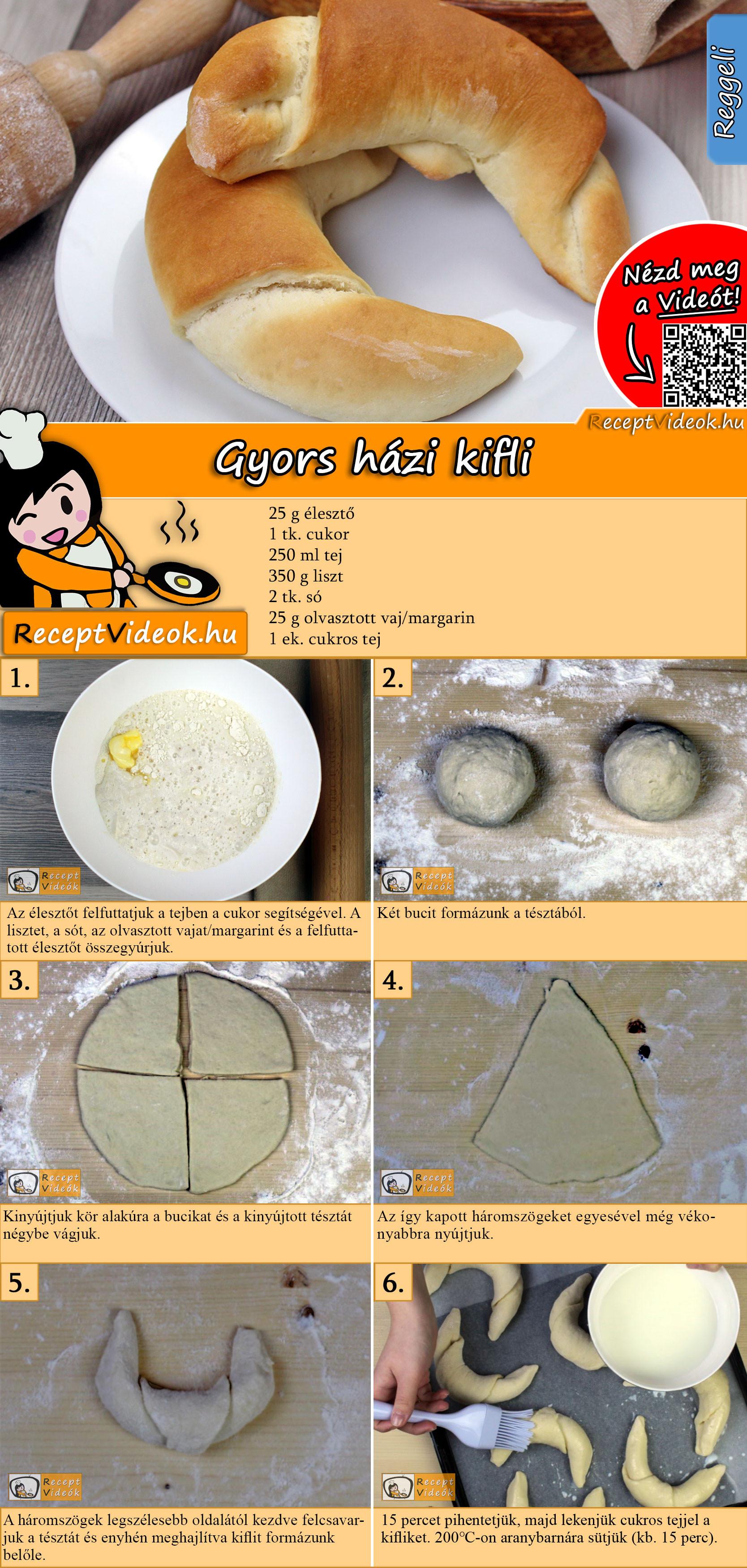 Gyors házi kifli recept elkészítése videóval