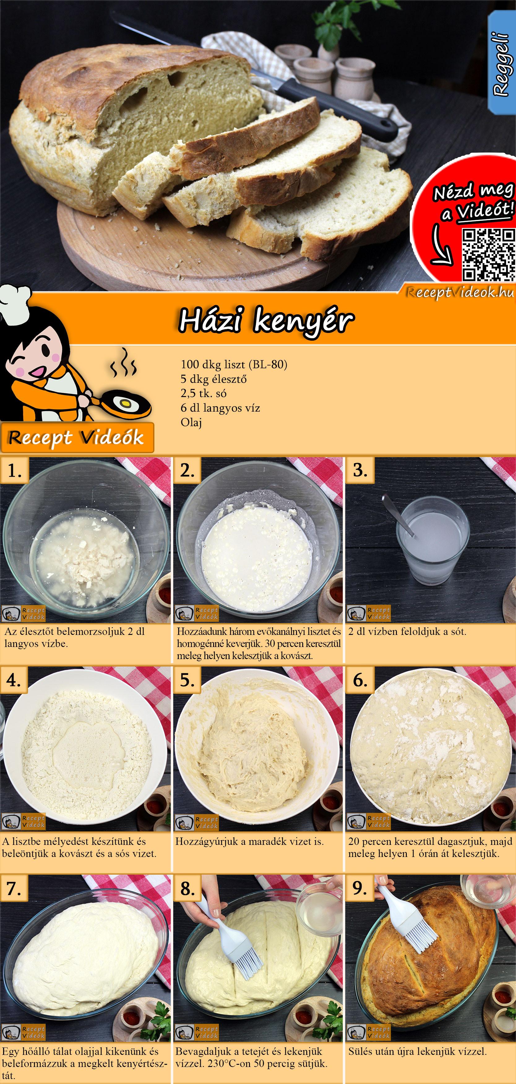 Házi kenyér recept elkészítése videóval