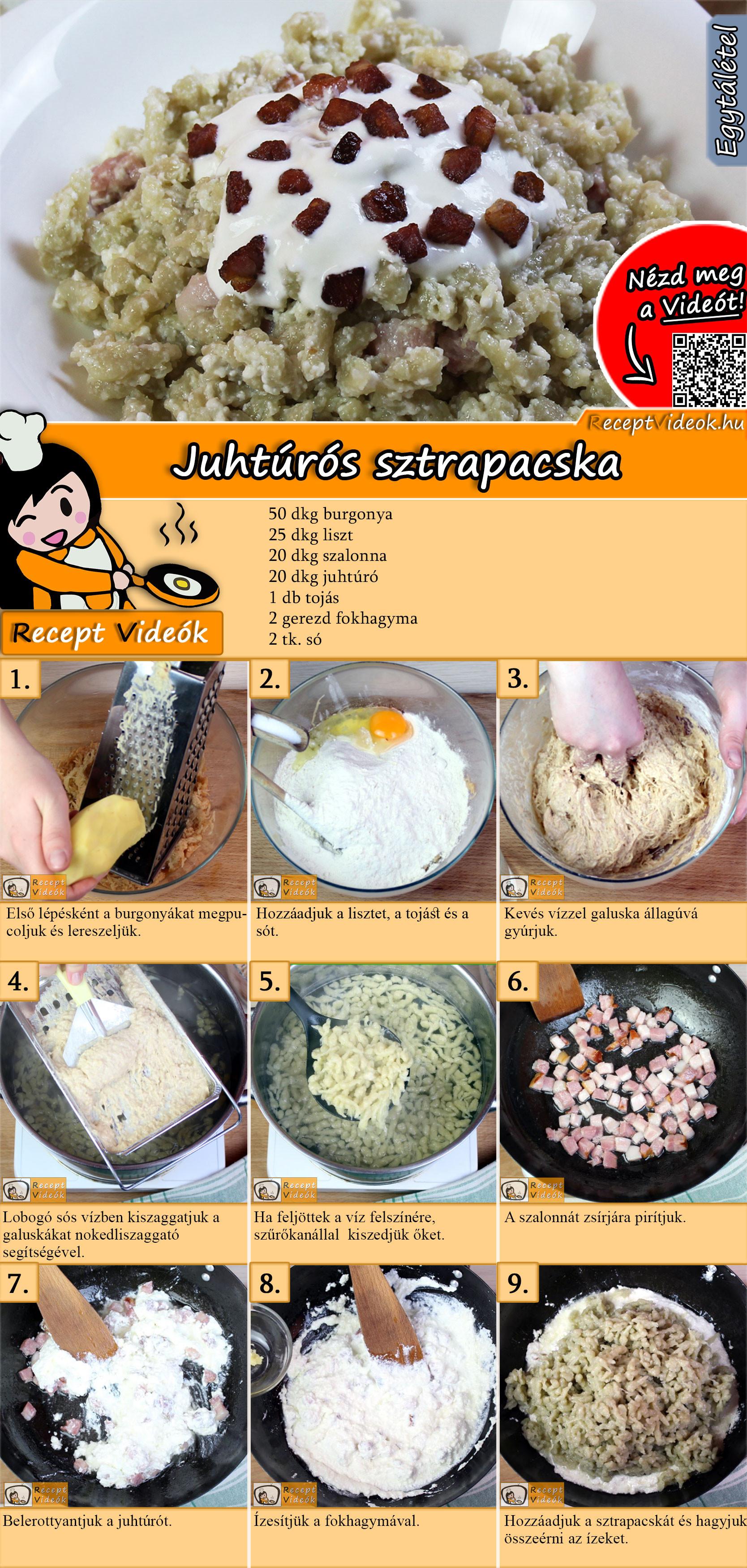 Juhtúrós sztrapacska recept elkészítése videóval