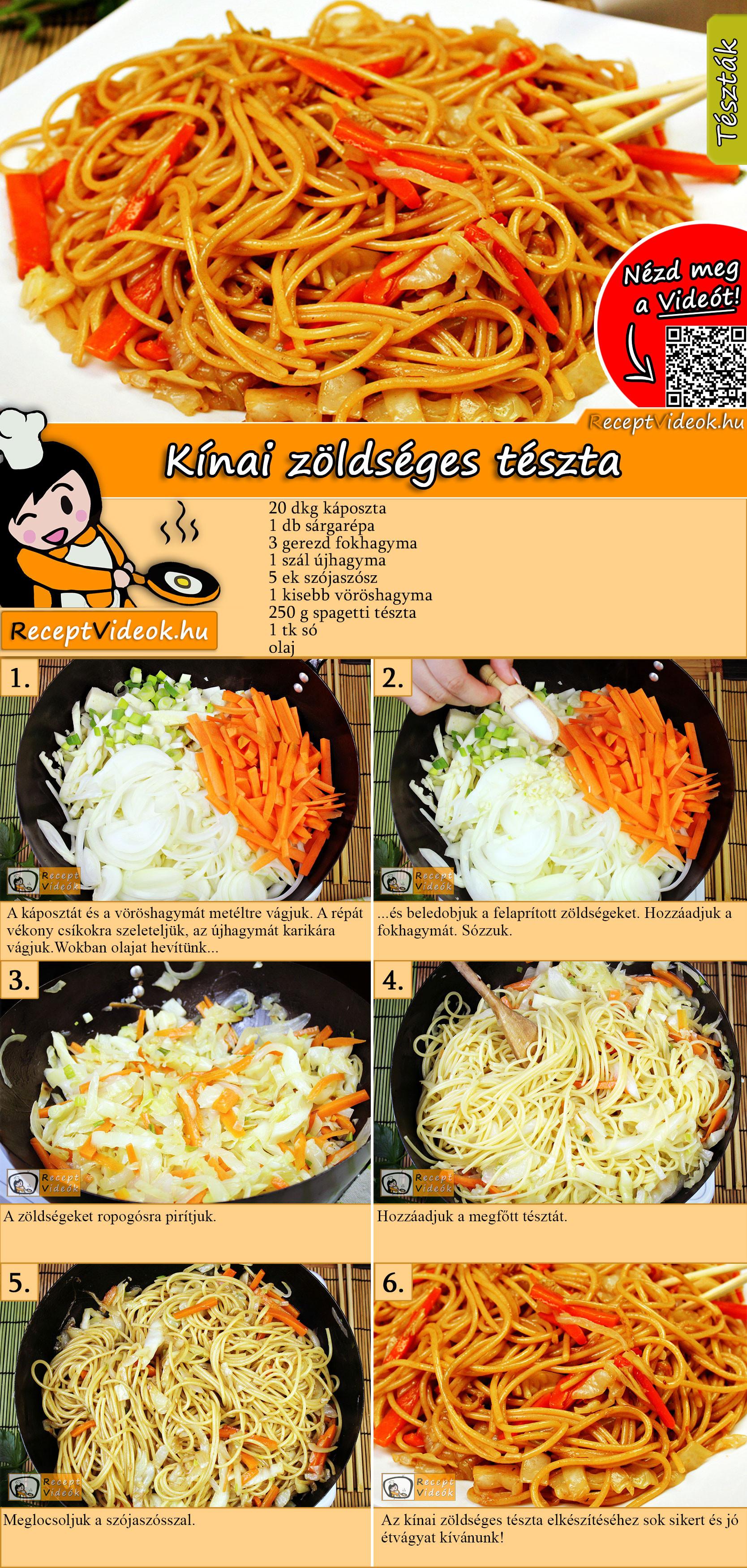 Kínai zöldséges tészta recept elkészítése videóval