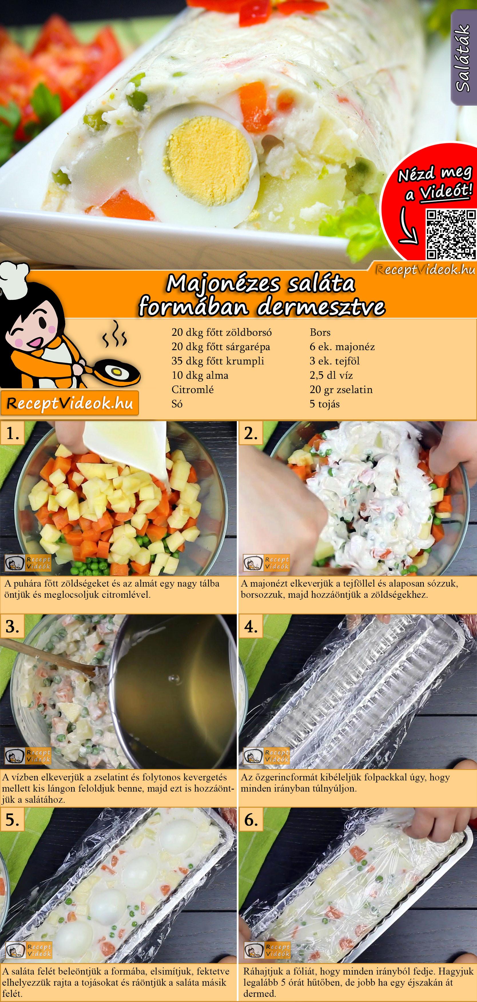 Majonézes saláta formában dermesztve recept elkészítése videóval