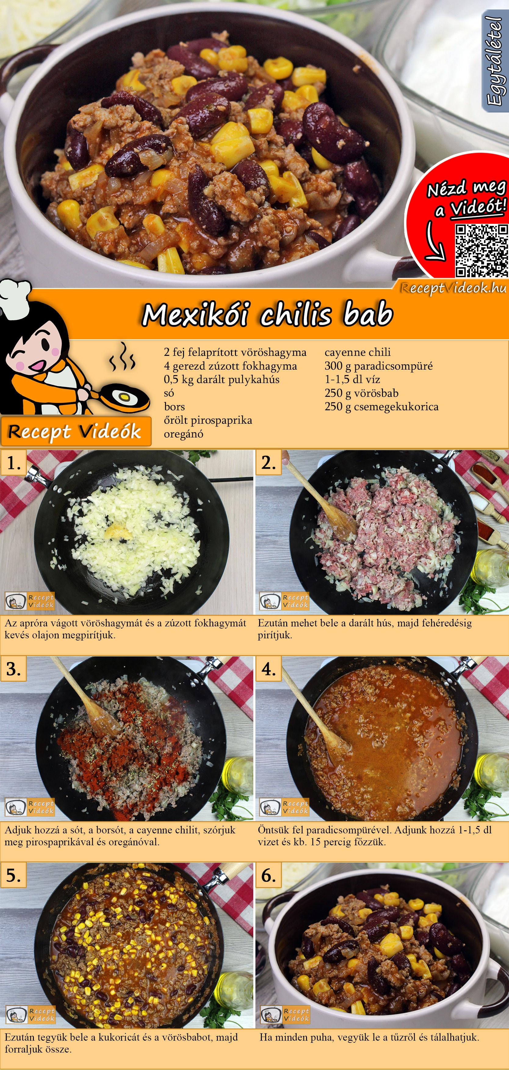 Mexikói chilis bab recept elkészítése videóval