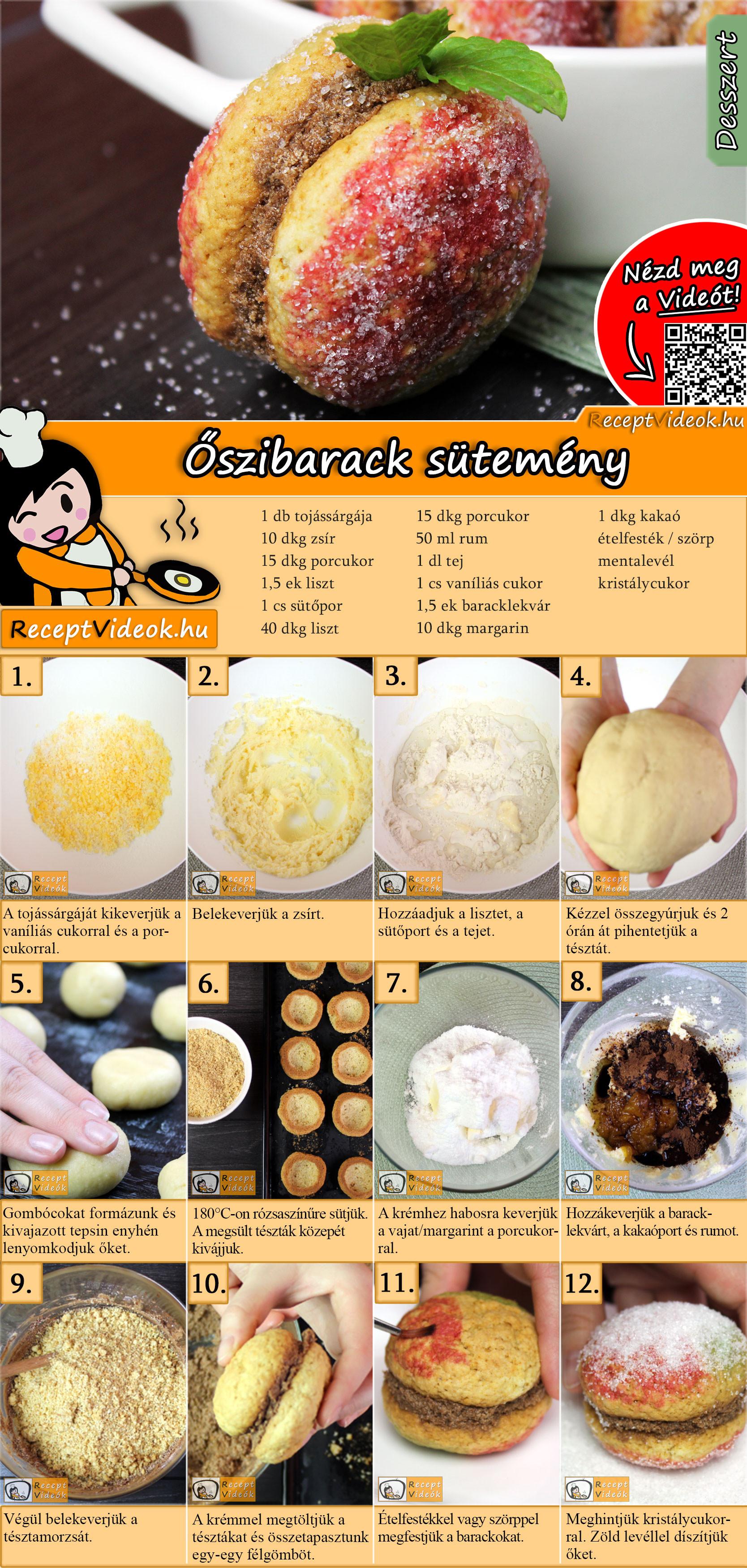 Őszibarack sütemény recept elkészítése videóval