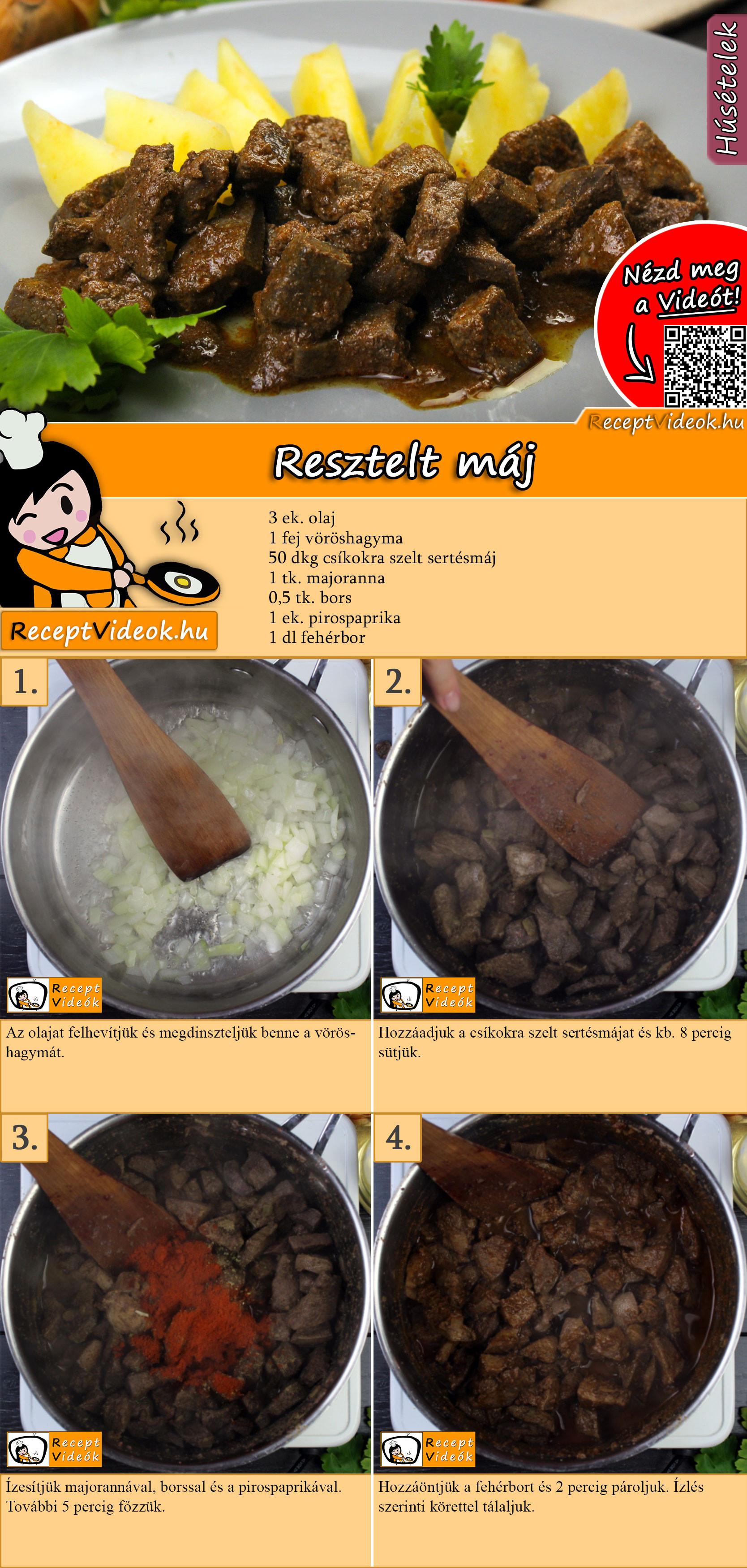 Resztelt máj recept elkészítése videóval