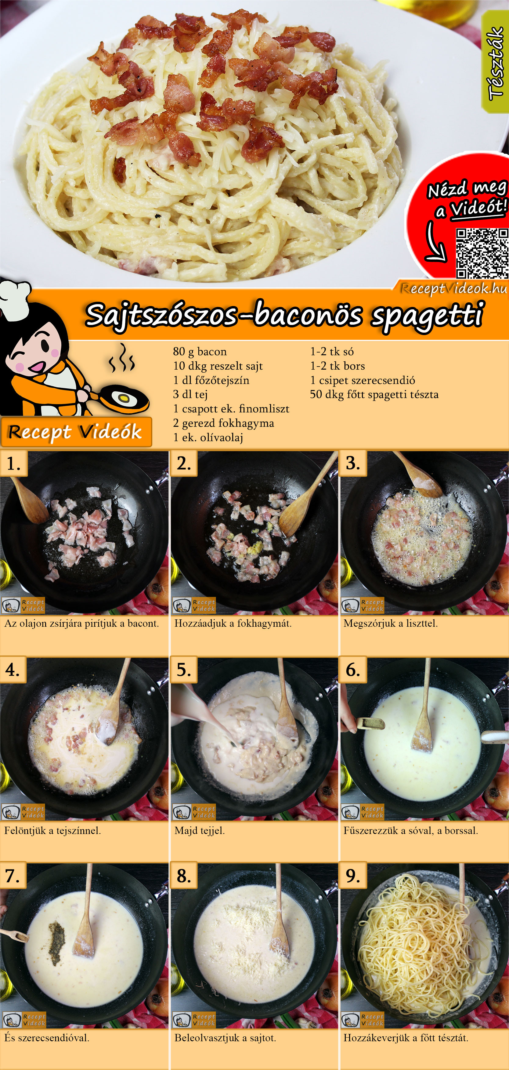 Sajtszószos-baconös spagetti recept elkészítése videóval