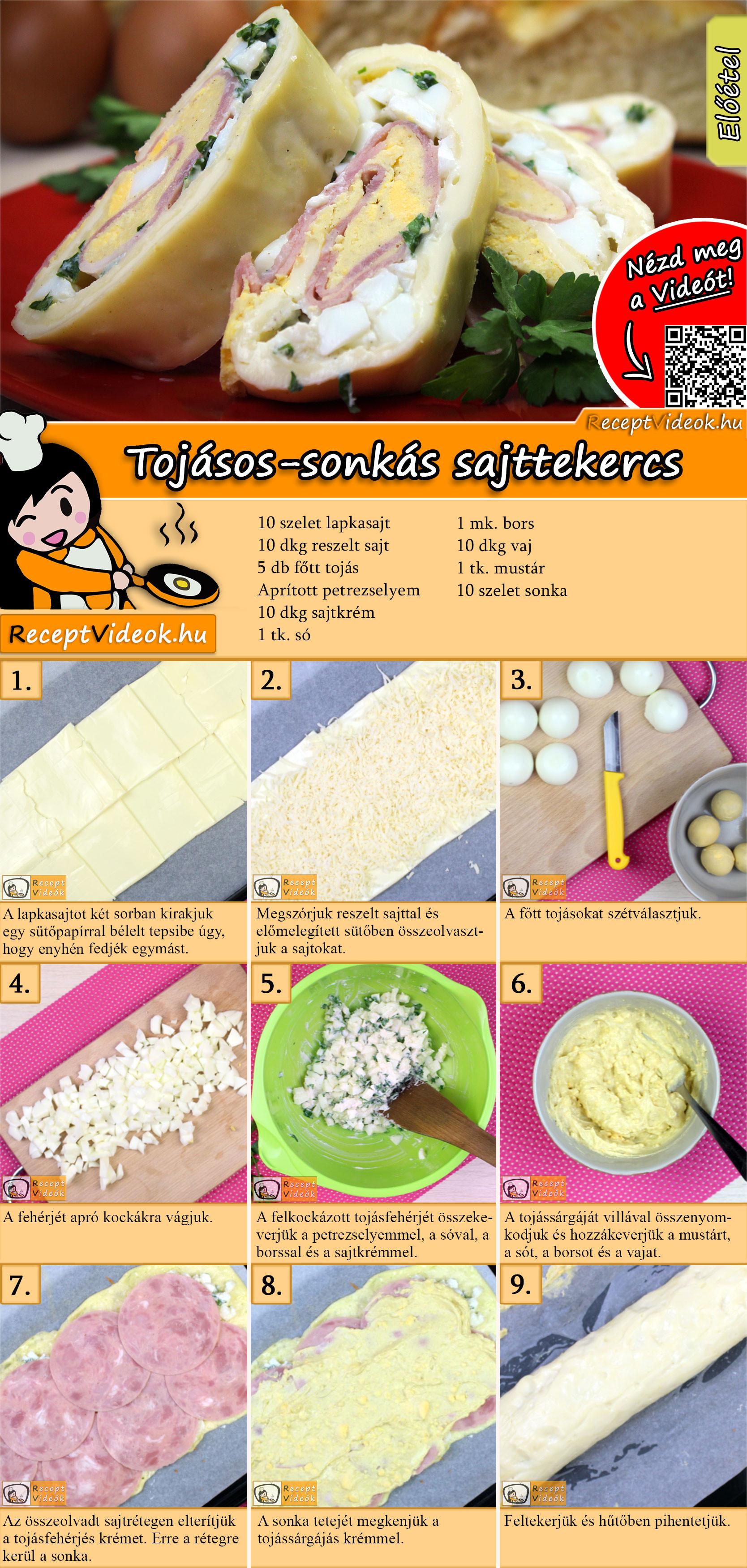 Tojásos-sonkás sajttekercs recept elkészítése videóval