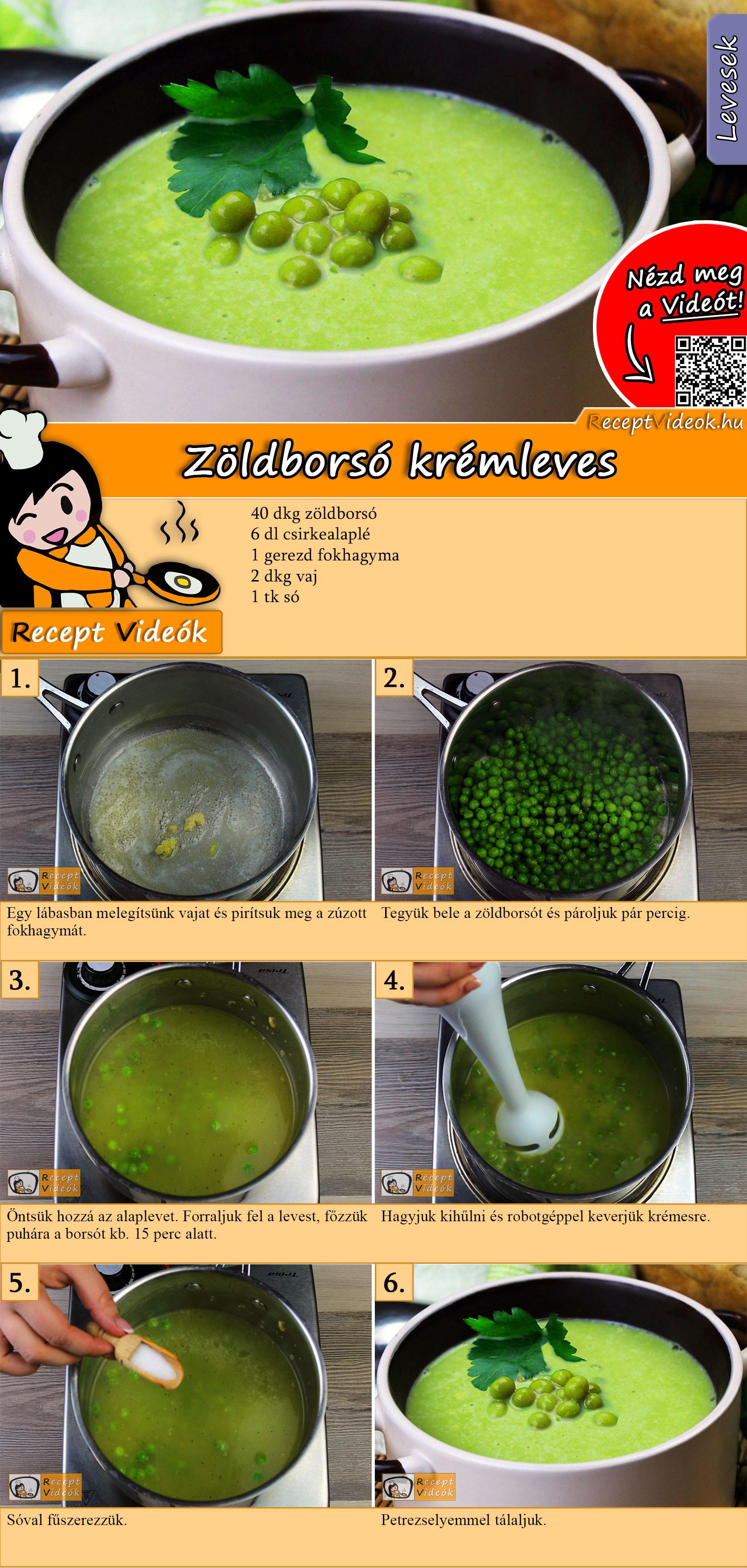 Zöldborsó krémleves recept elkészítése videóval