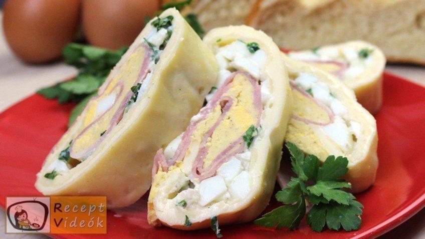Tojásos-sonkás sajttekercs recept elkészítése - Recept Videók