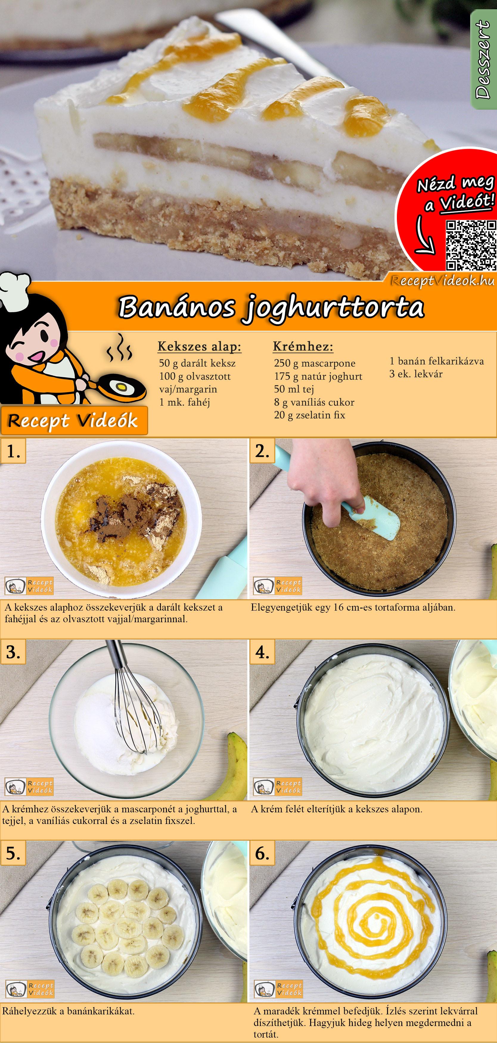 Banános joghurttorta recept elkészítése videóval