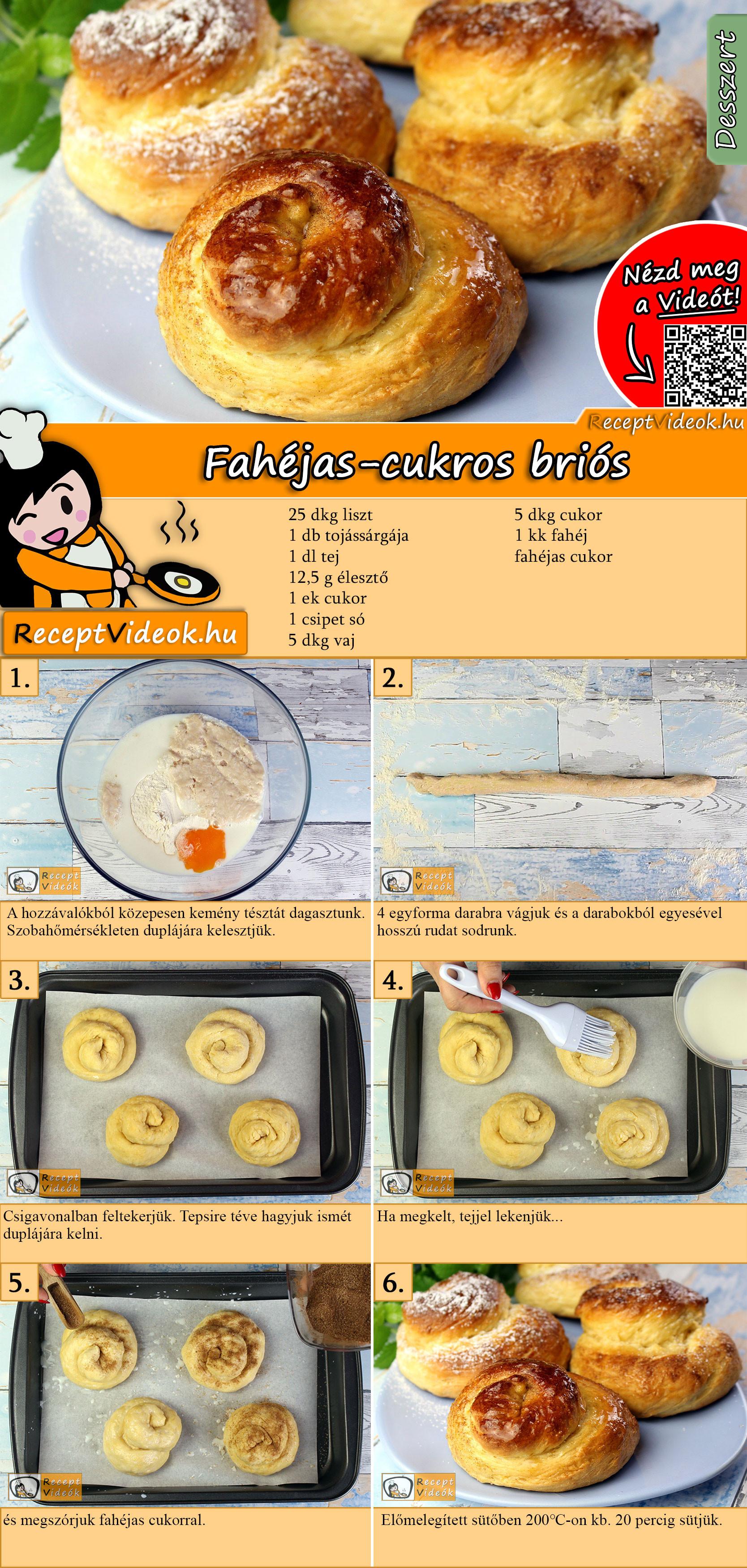 Fahéjas-cukros briós recept elkészítése videóval
