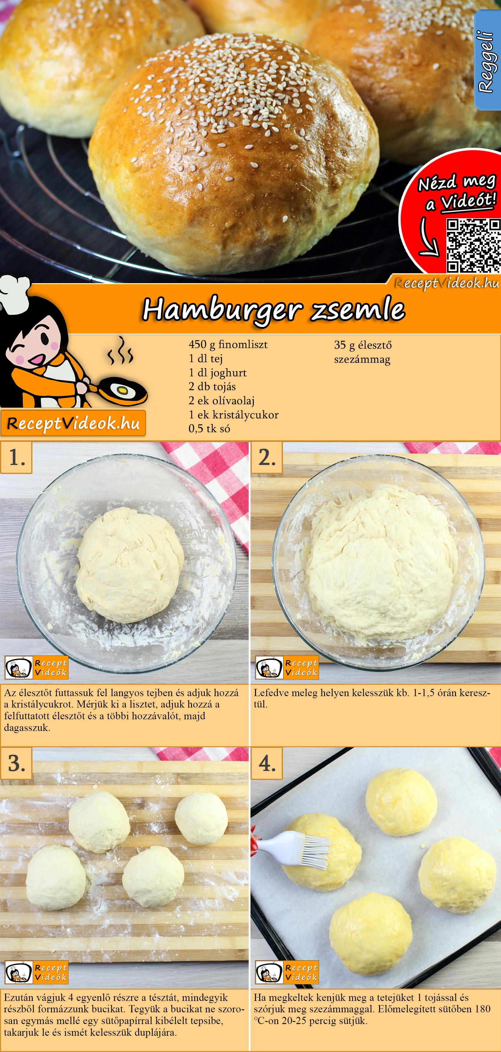 Hamburger zsemle recept elkészítése videóval