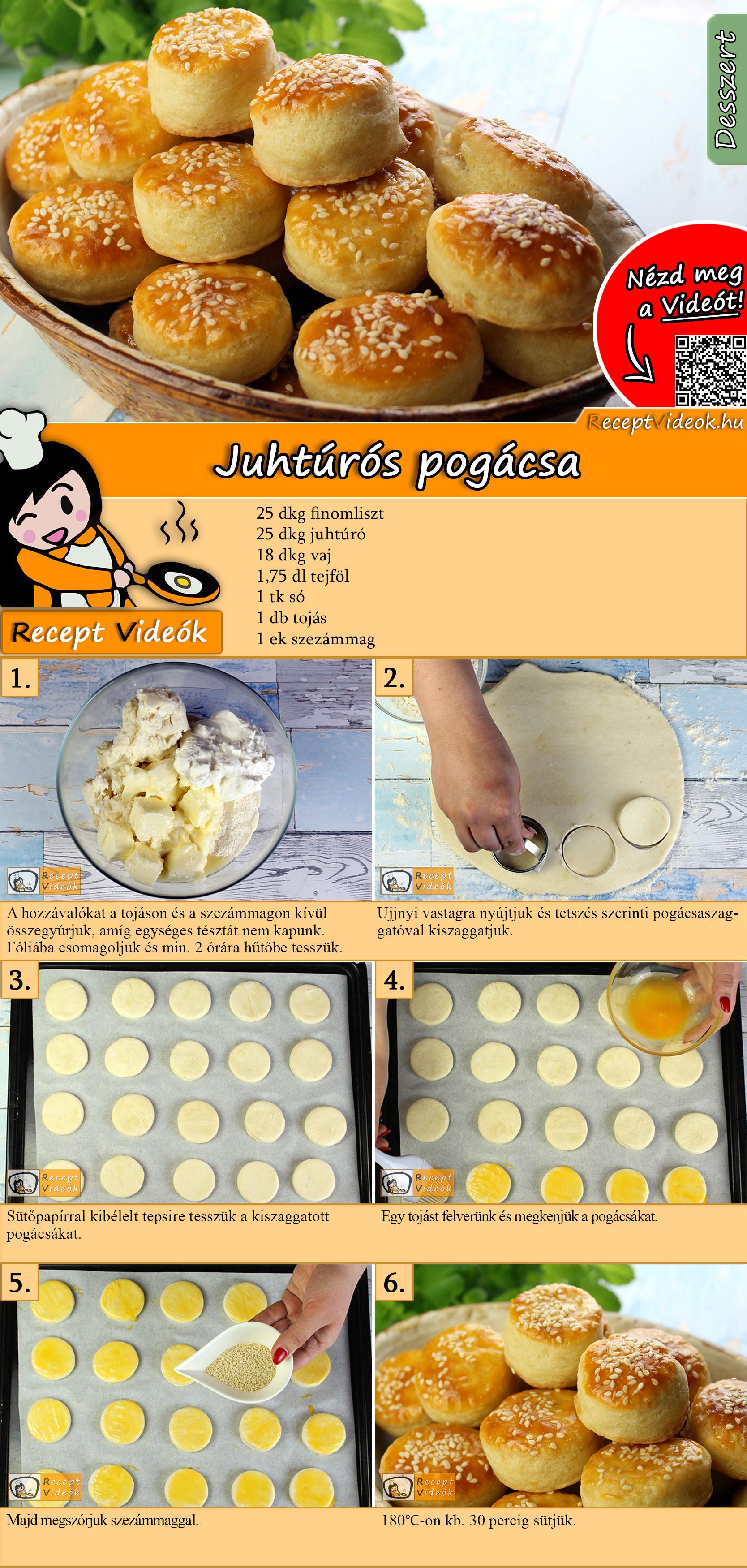 Juhtúrós pogácsa recept elkészítése videóval