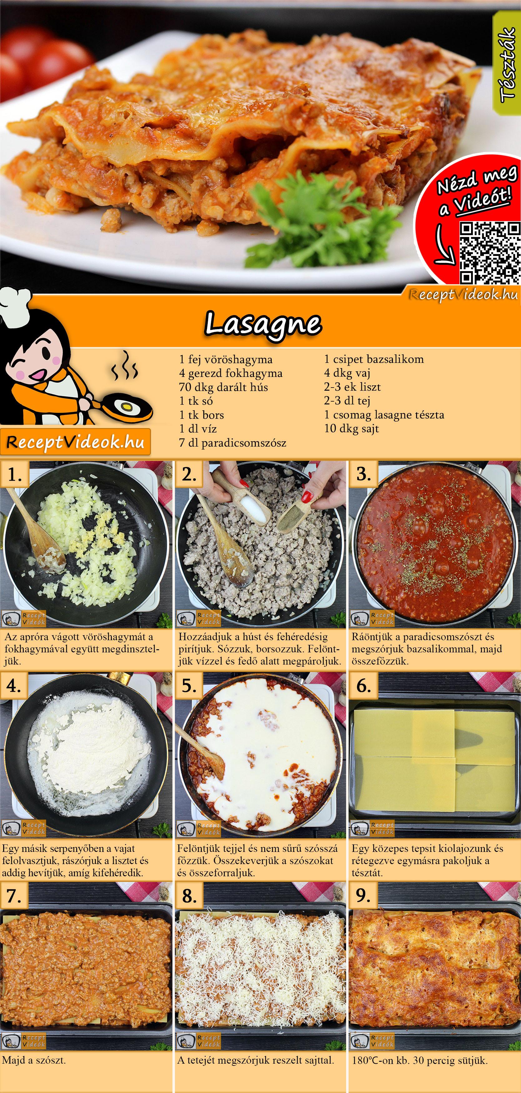 Lasagne recept elkészítése videóval