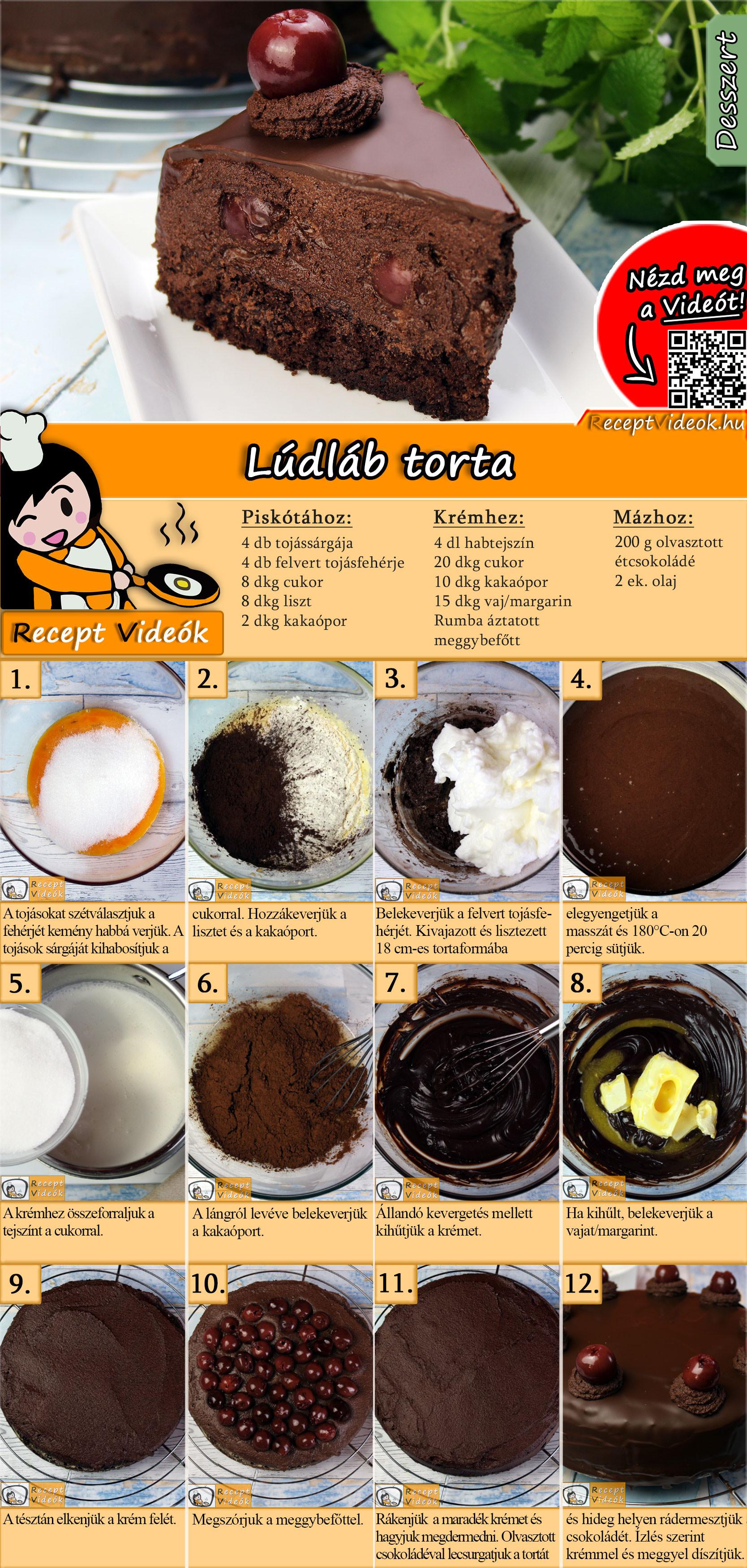 Lúdláb torta recept elkészítése videóval
