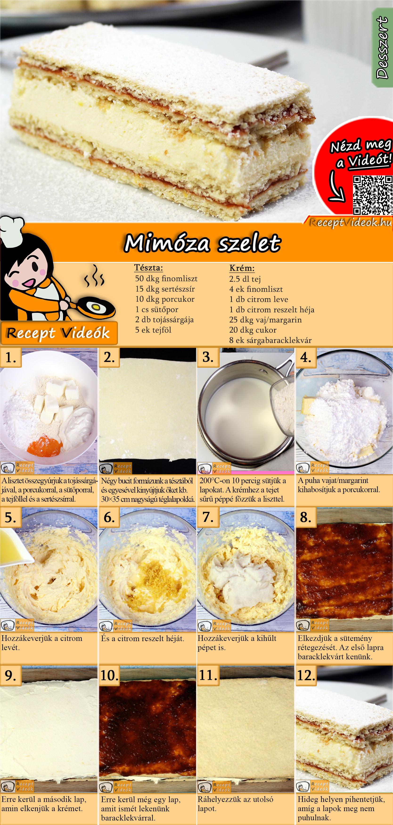 Mimóza szelet recept elkészítése videóval