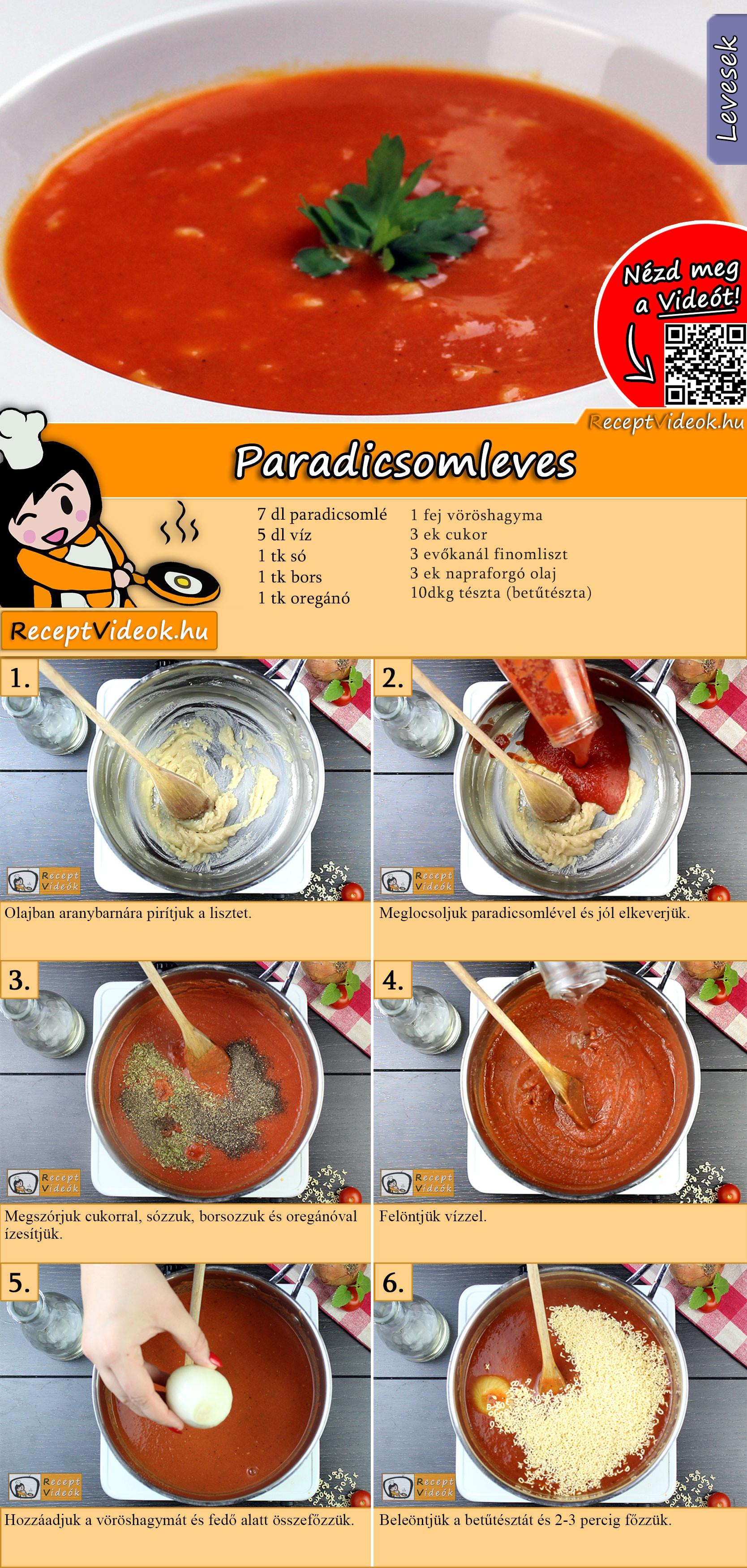 Paradicsomleves recept elkészítése videóval