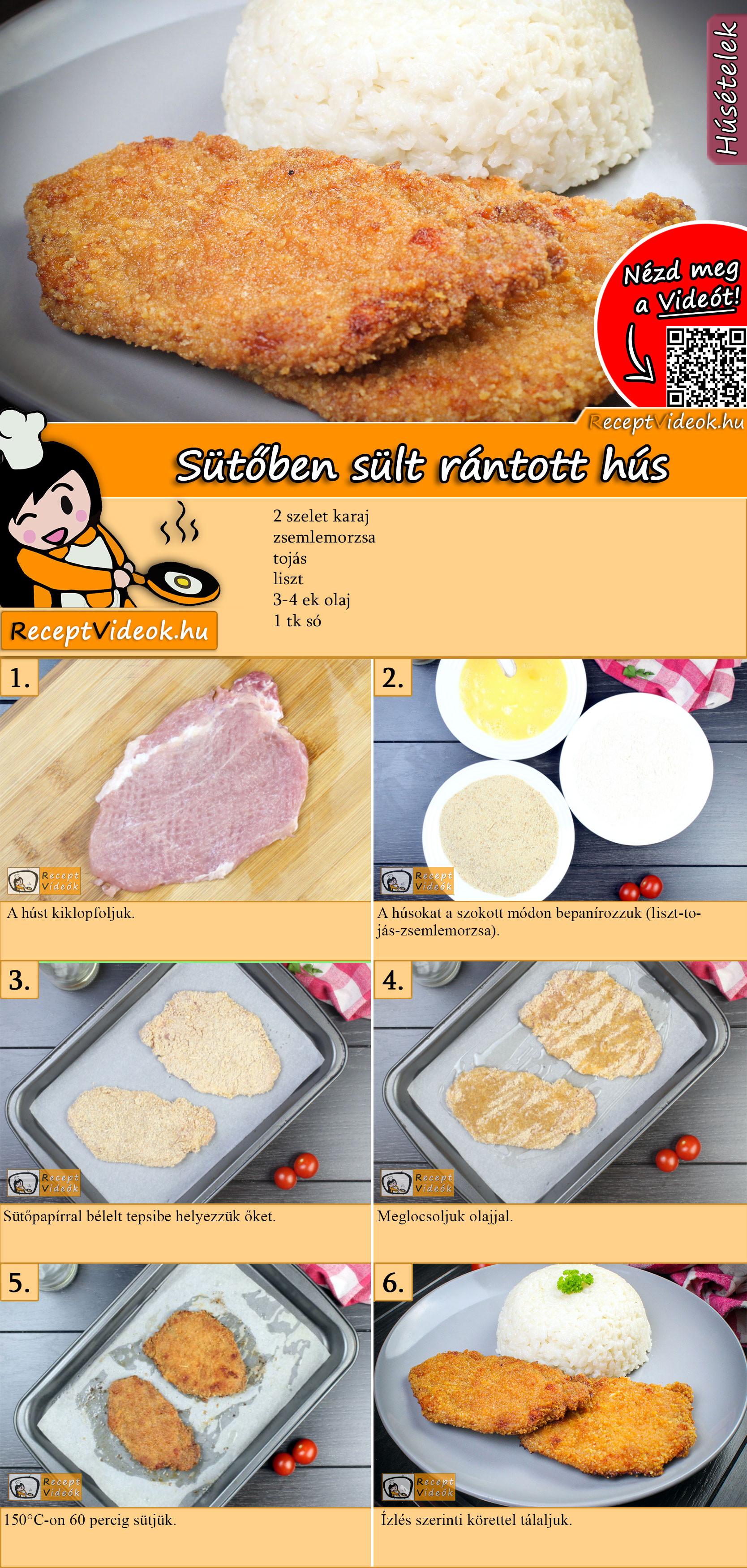 Sütőben sült rántott hús recept elkészítése videóval