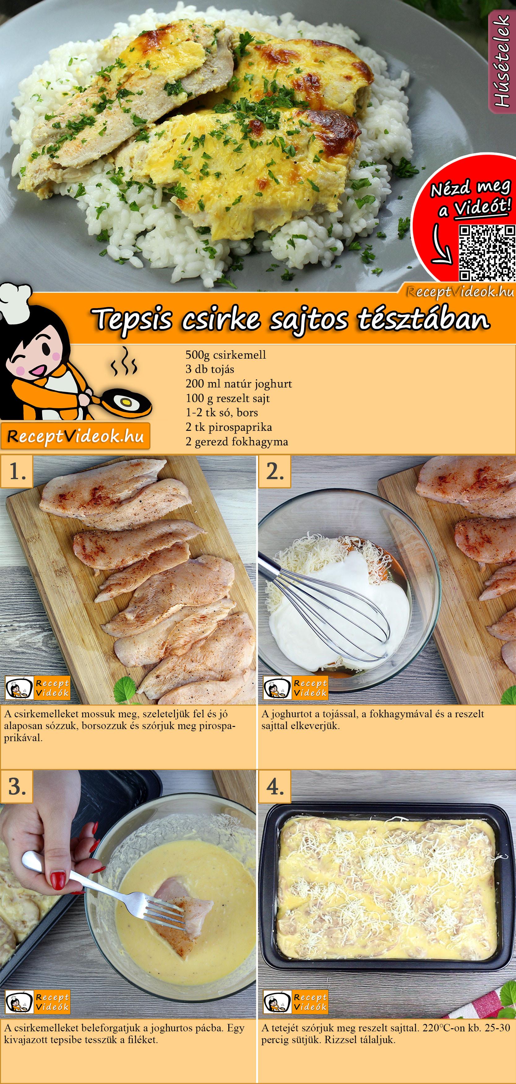 Tepsis csirkemell sajtos tésztában recept elkészítése videóval