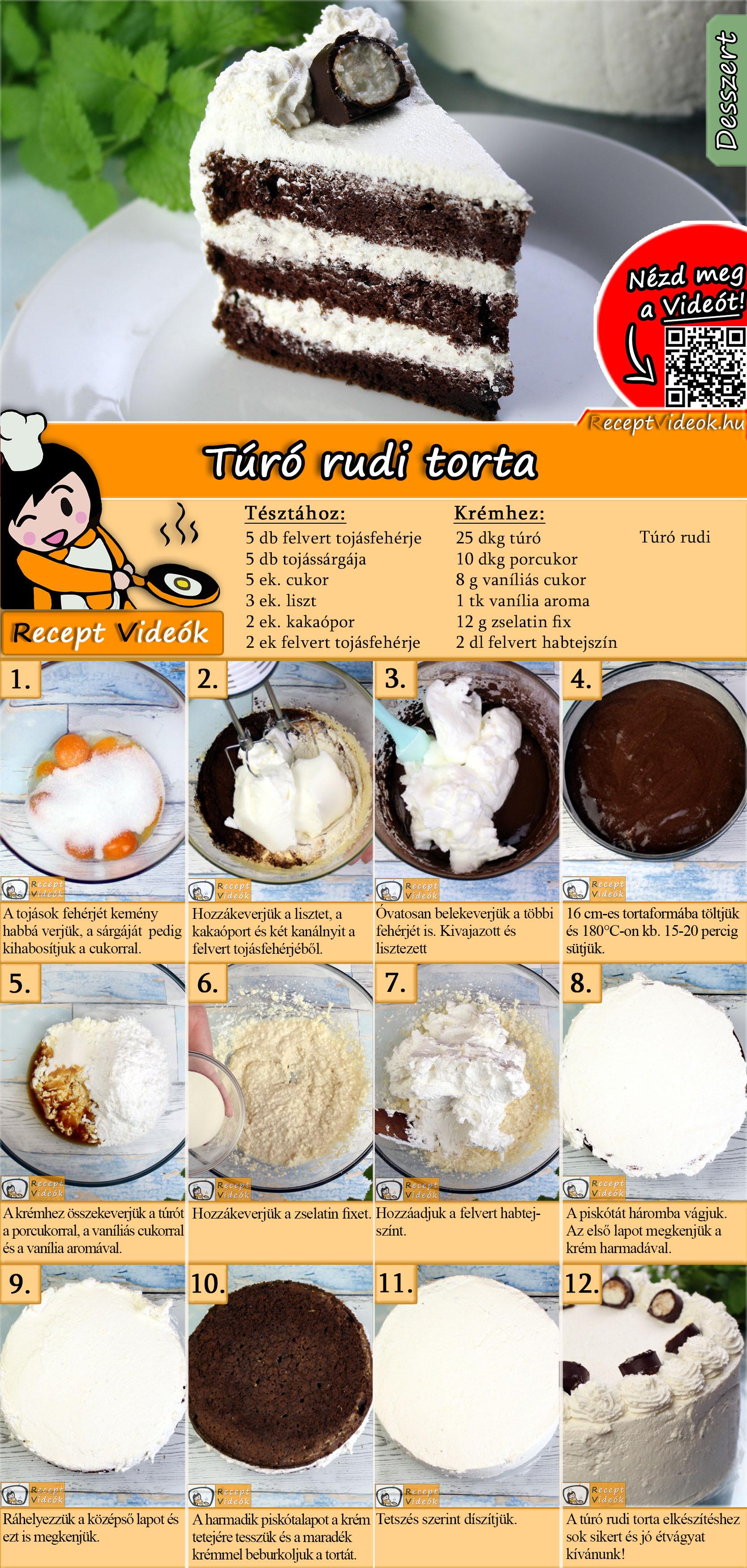 Túró rudi torta recept elkészítése videóval