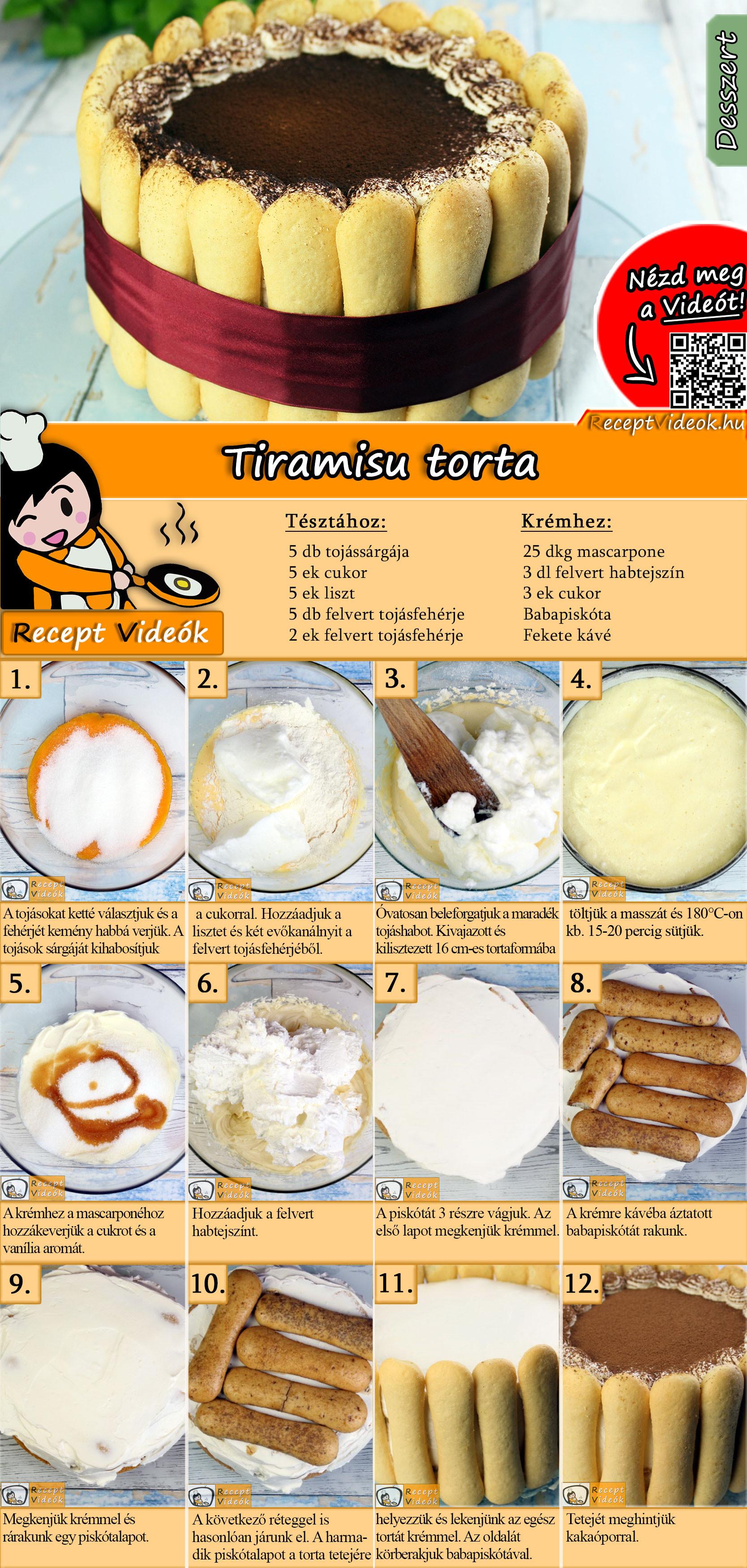 Tiramisu torta recept elkészítése videóval
