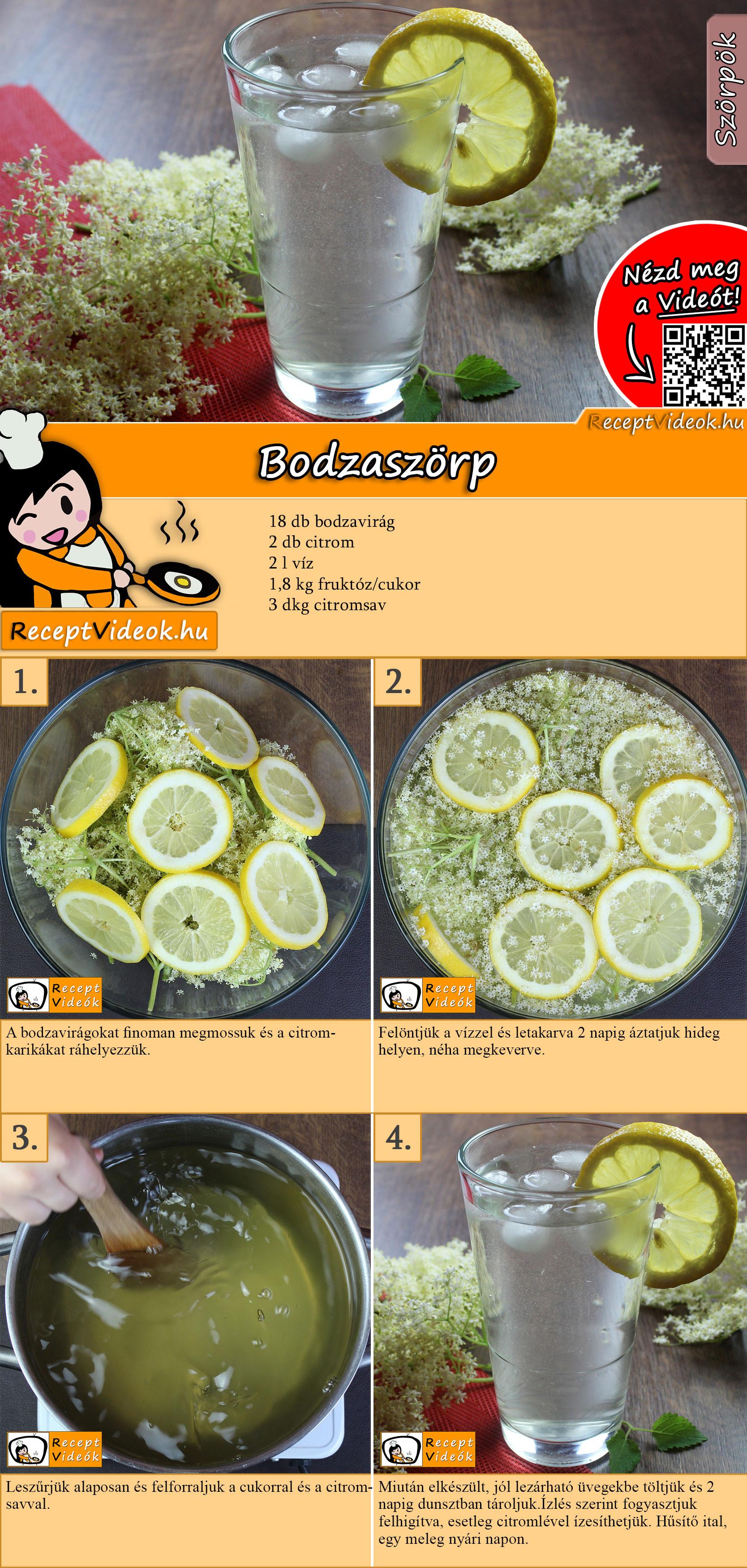 Bodzaszörp recept elkészítése videóval