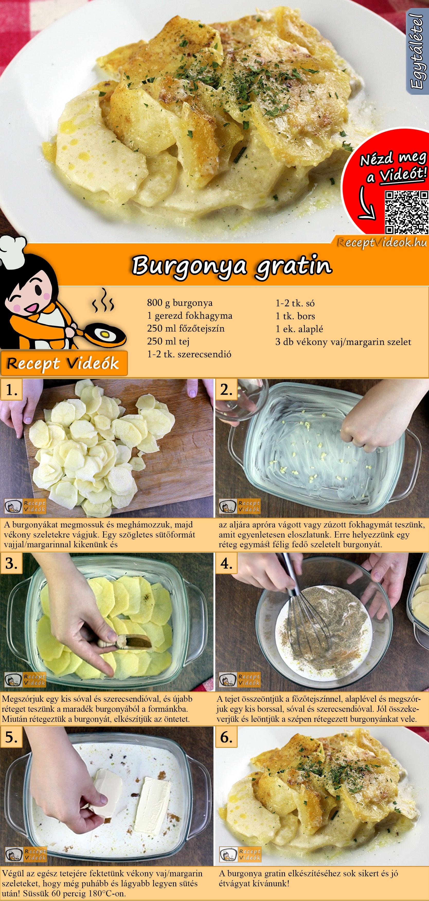 Burgonya gratin recept elkészítése videóval