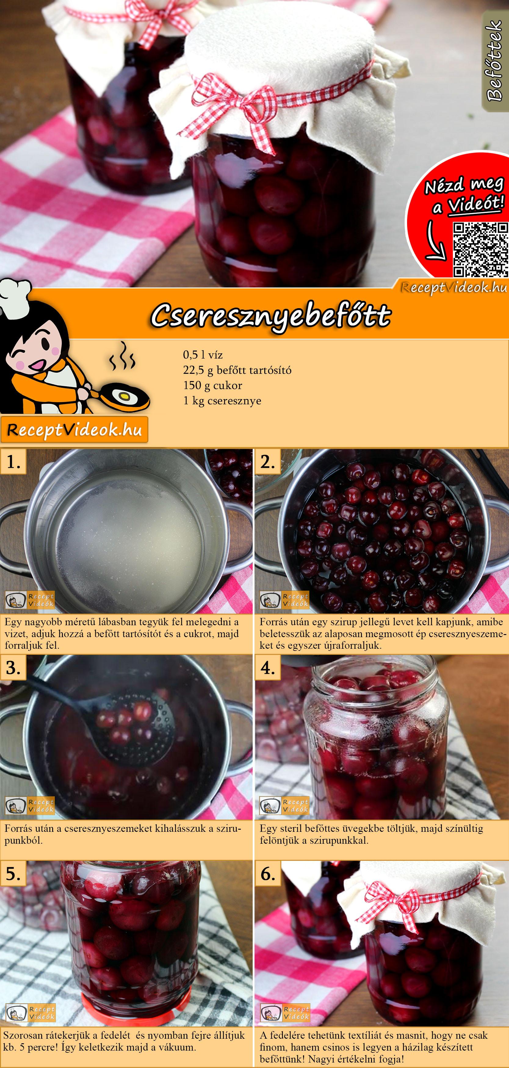 Cseresznyebefőtt recept elkészítése videóval