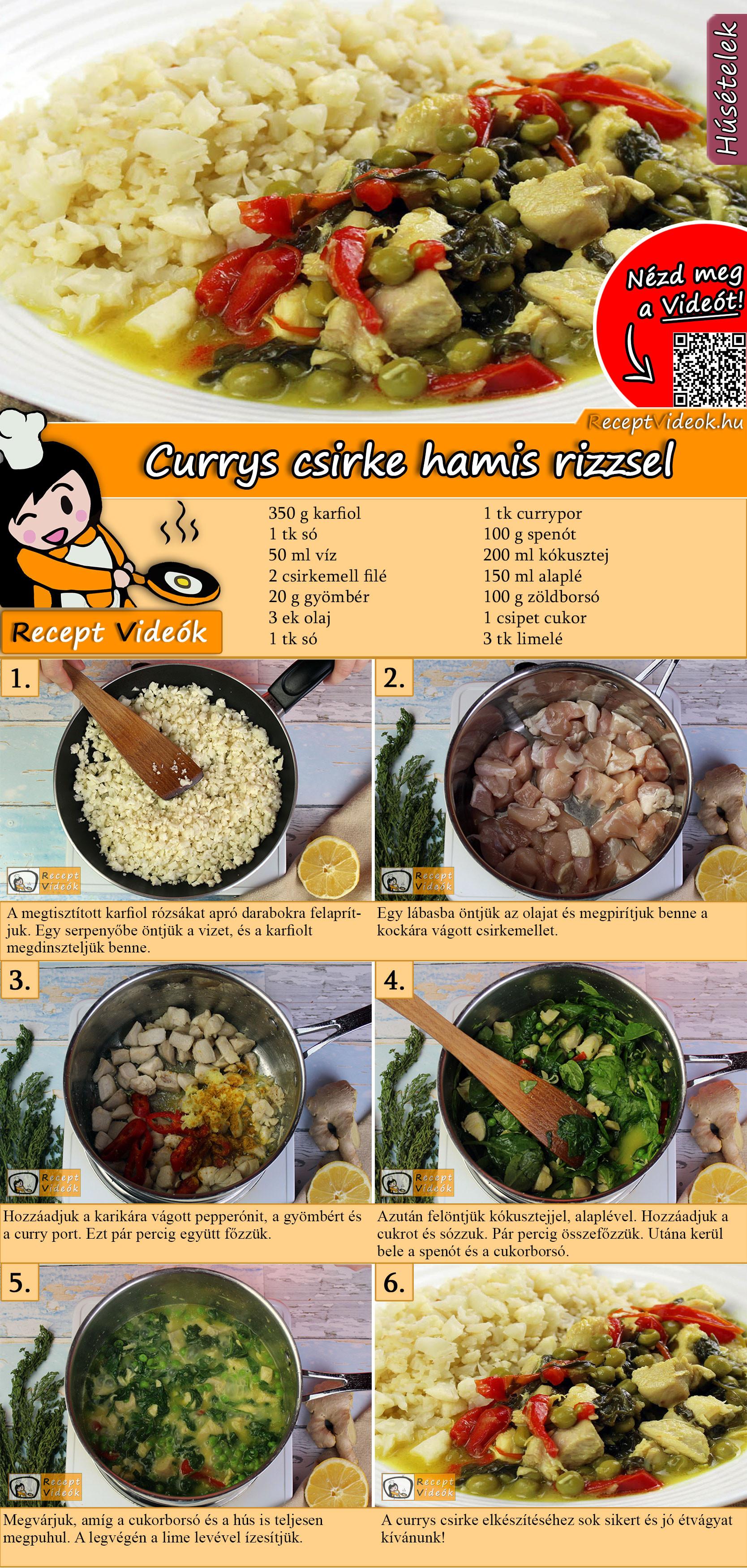 Currys csirke hamis rizzsel recept elkészítése videóval