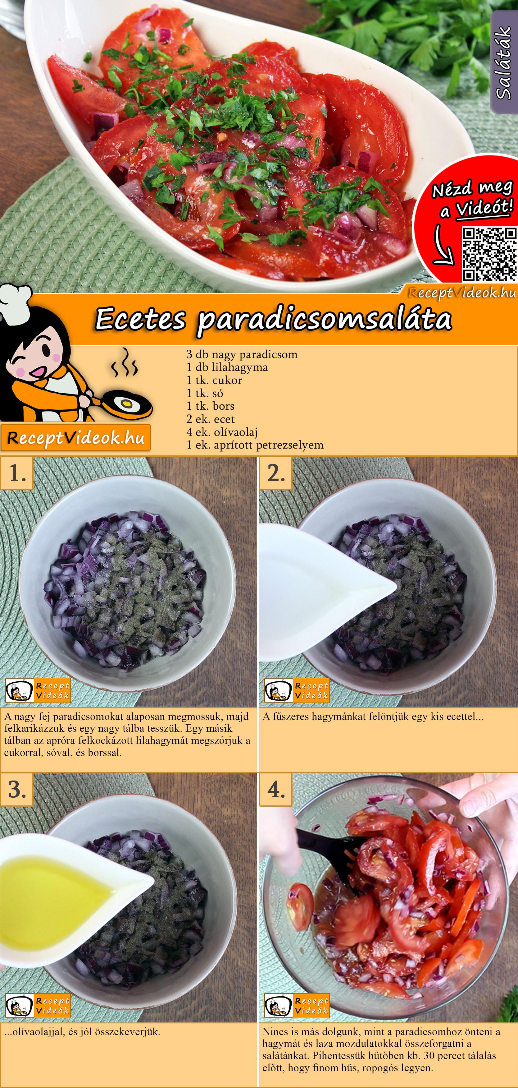 Ecetes paradicsomsaláta recept elkészítése videóval