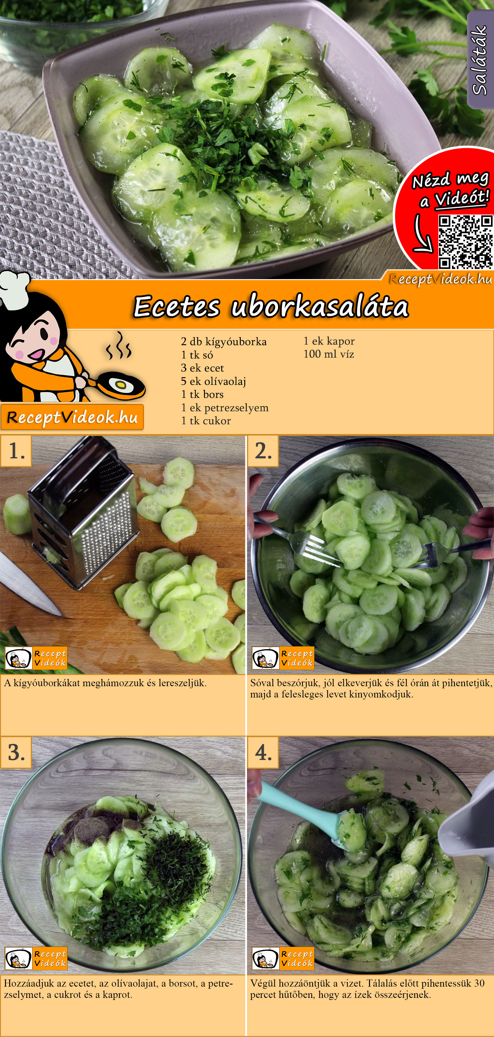 Ecetes uborkasaláta recept elkészítése videóval