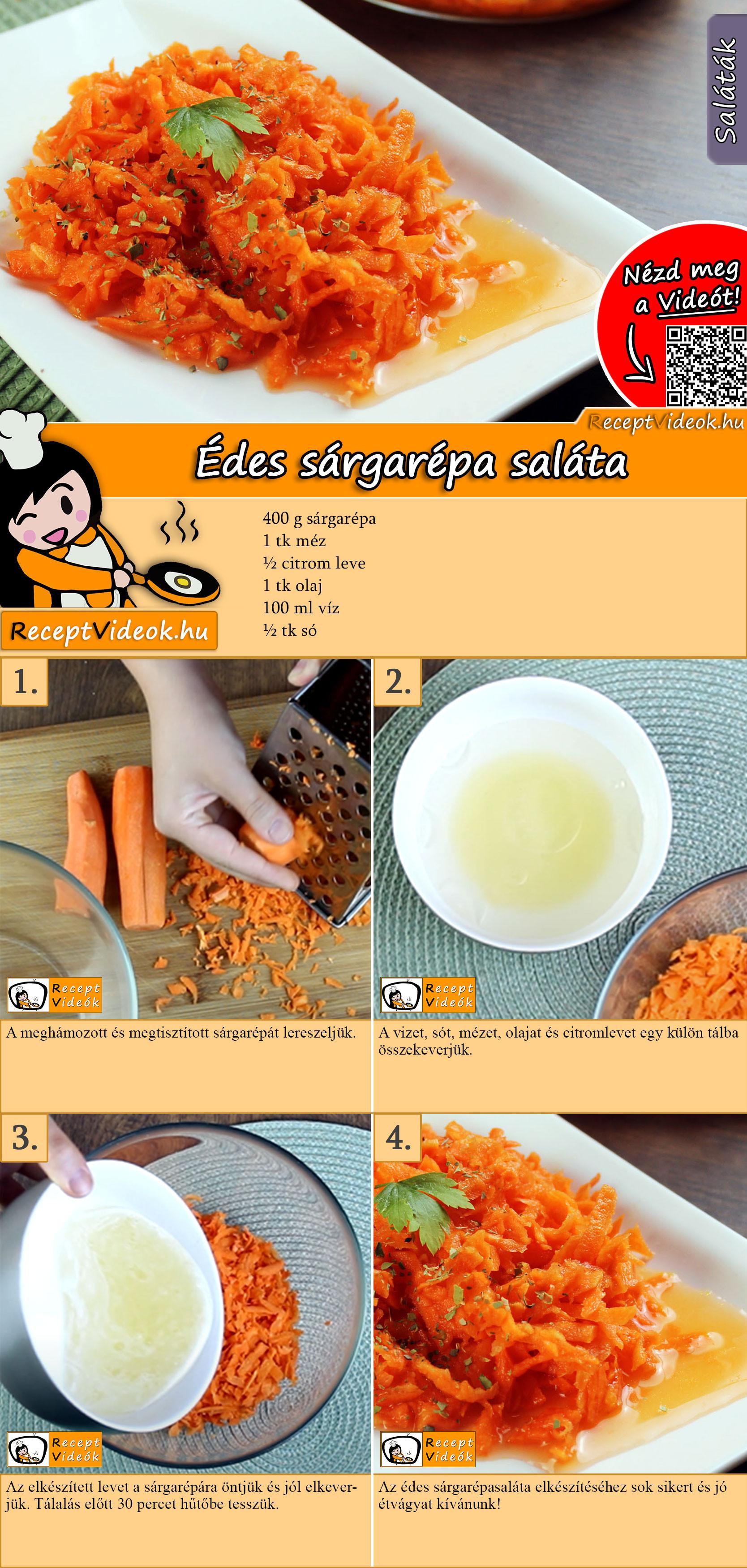 Édes sárgarépa saláta recept elkészítése videóval