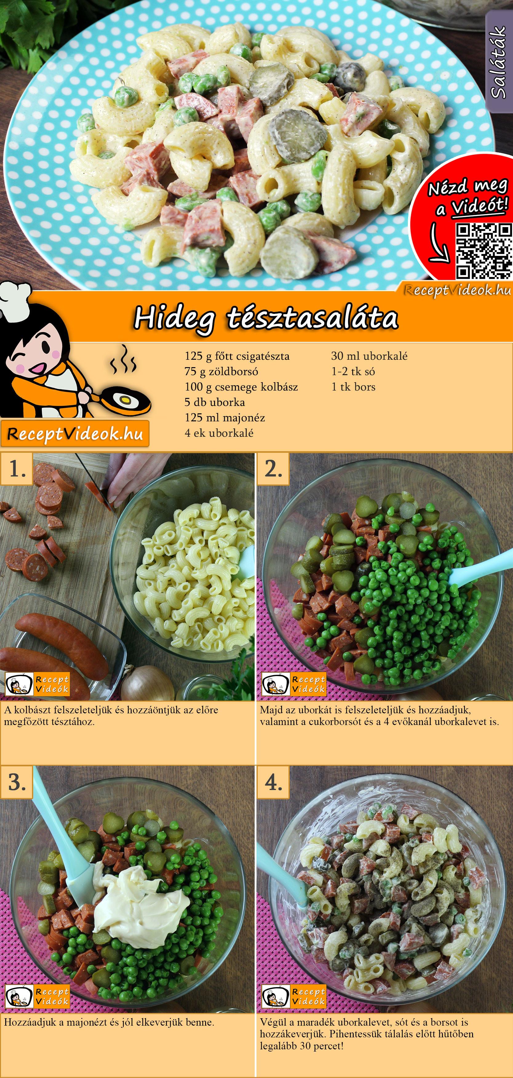 Hideg tésztasaláta recept elkészítése videóval