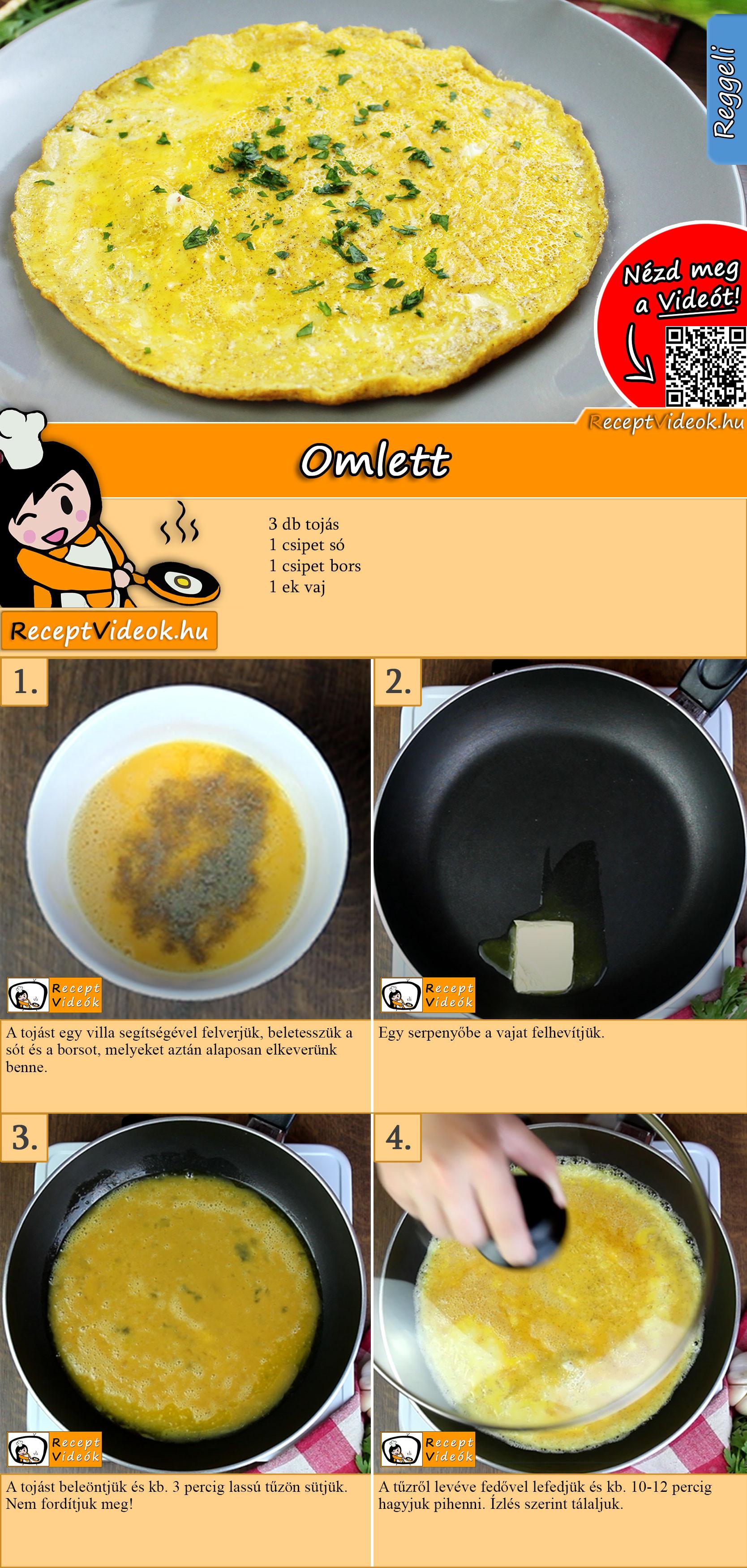 Omlett recept elkészítése videóval