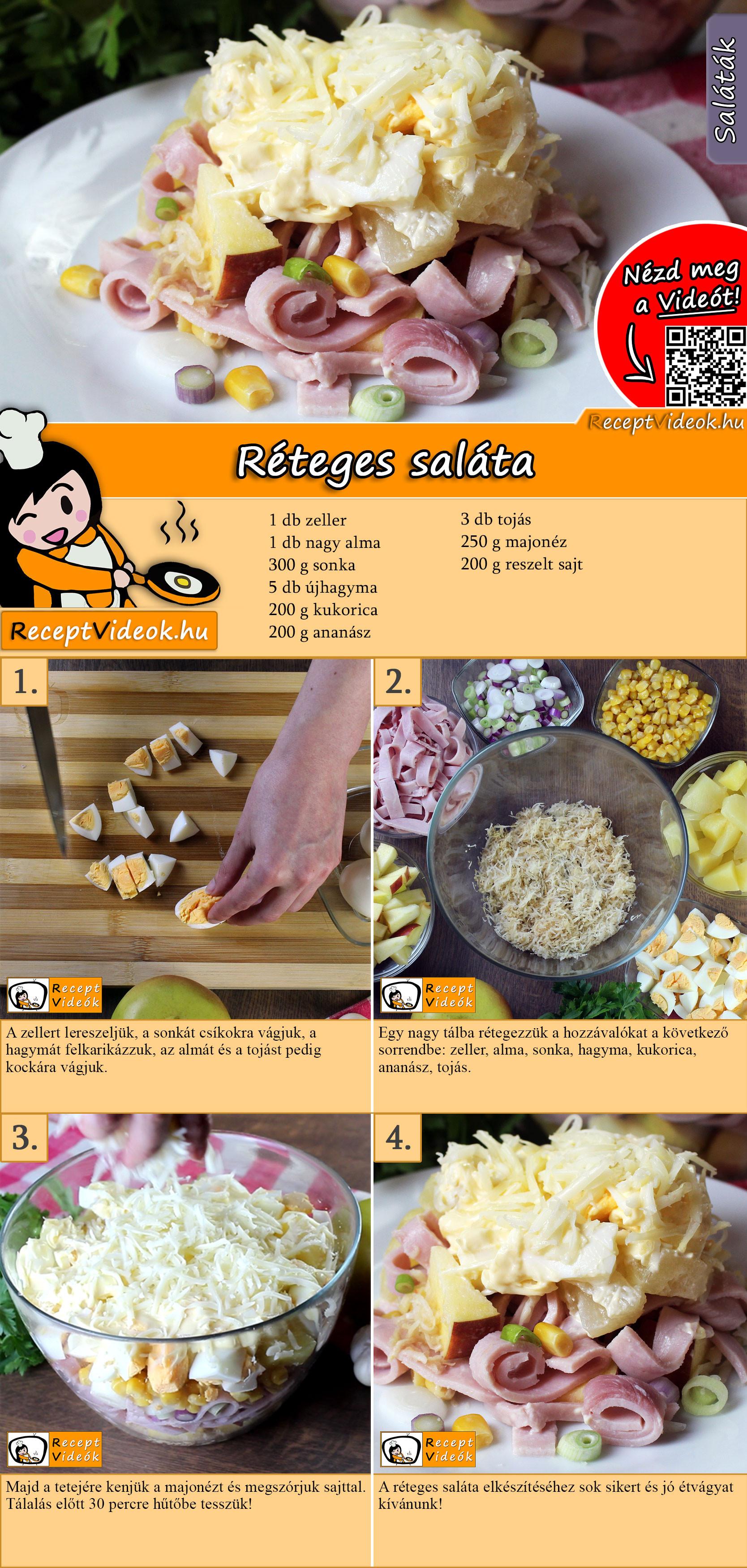 Réteges saláta recept elkészítése videóval