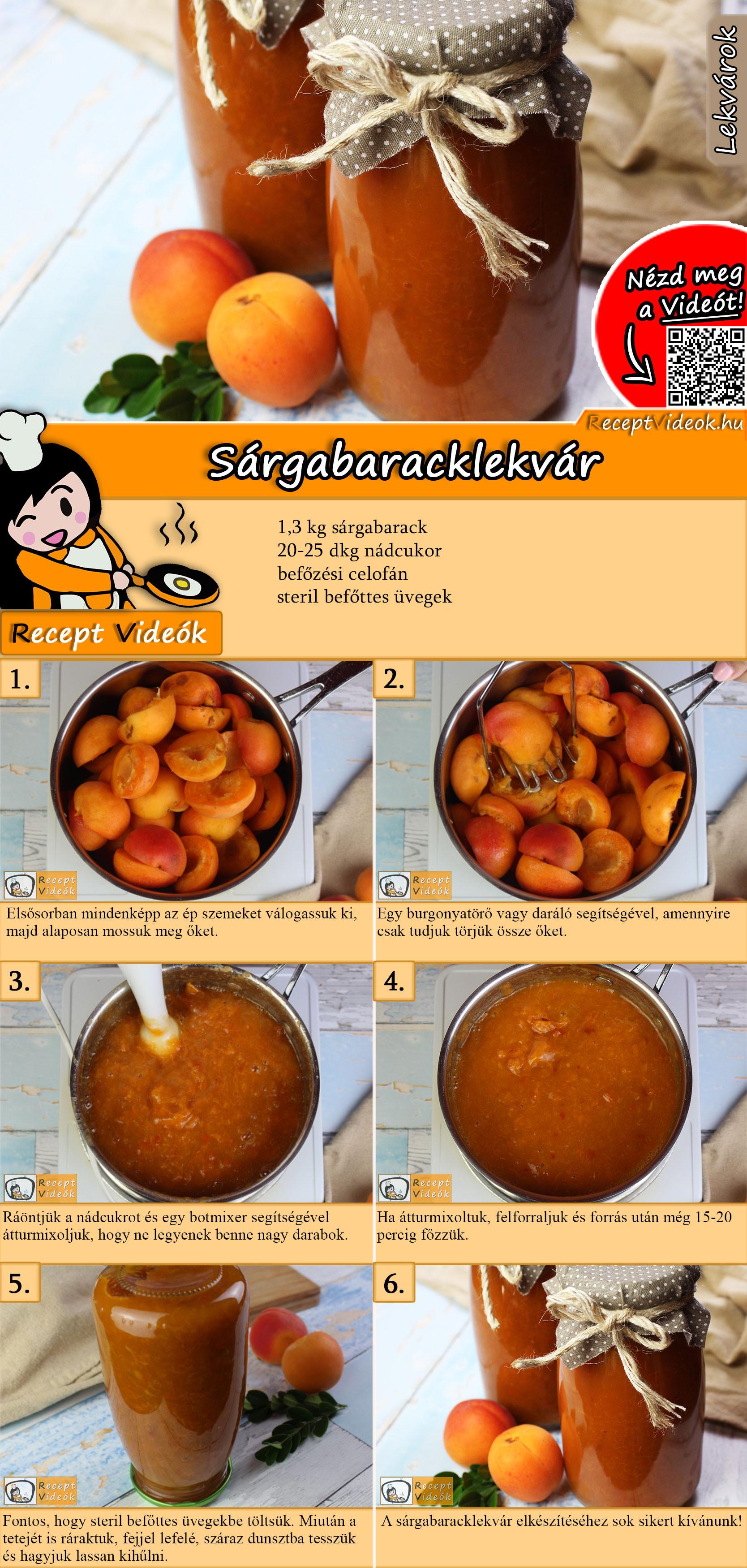 Sárgabaracklekvár recept elkészítése videóval