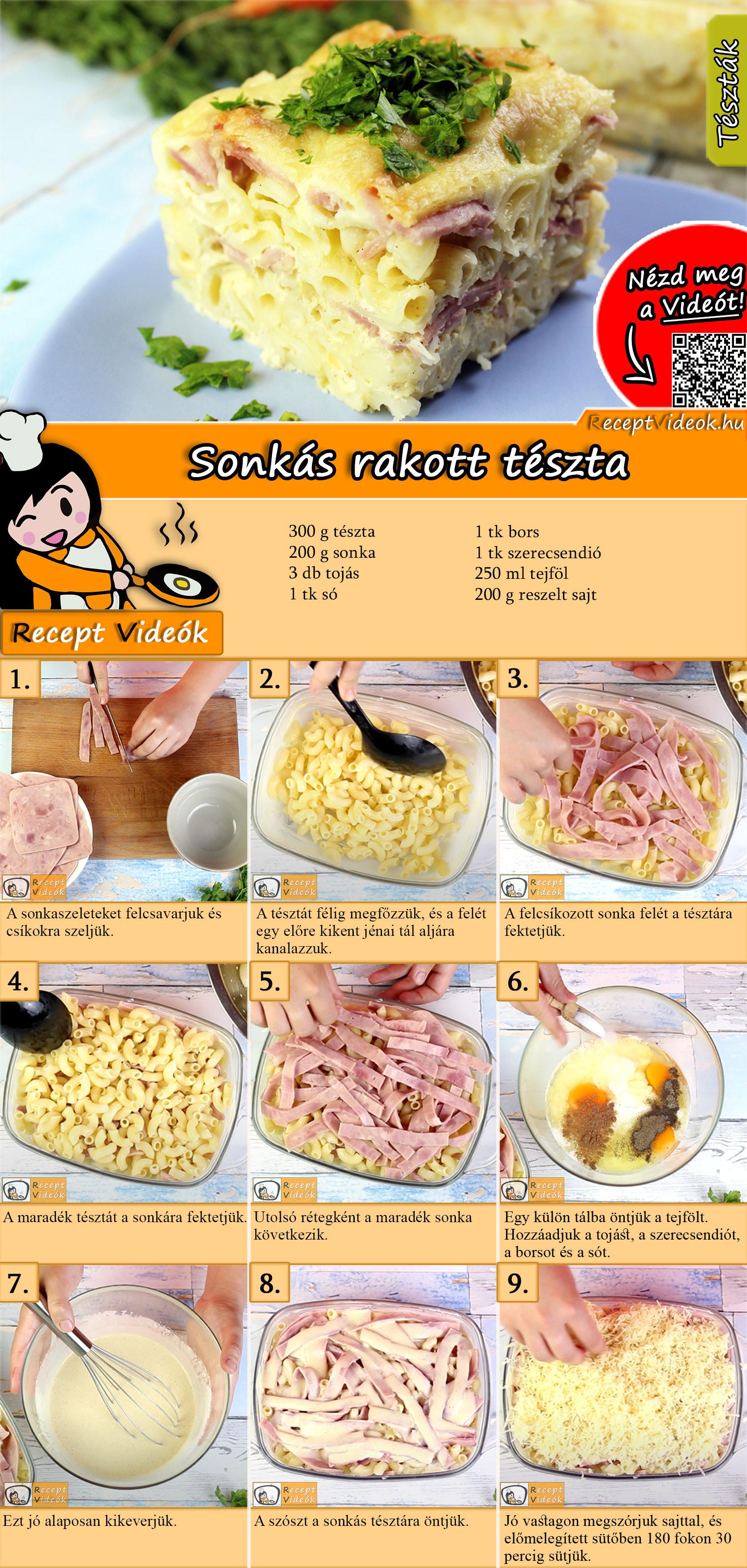 Sonkás rakott tészta recept elkészítése videóval