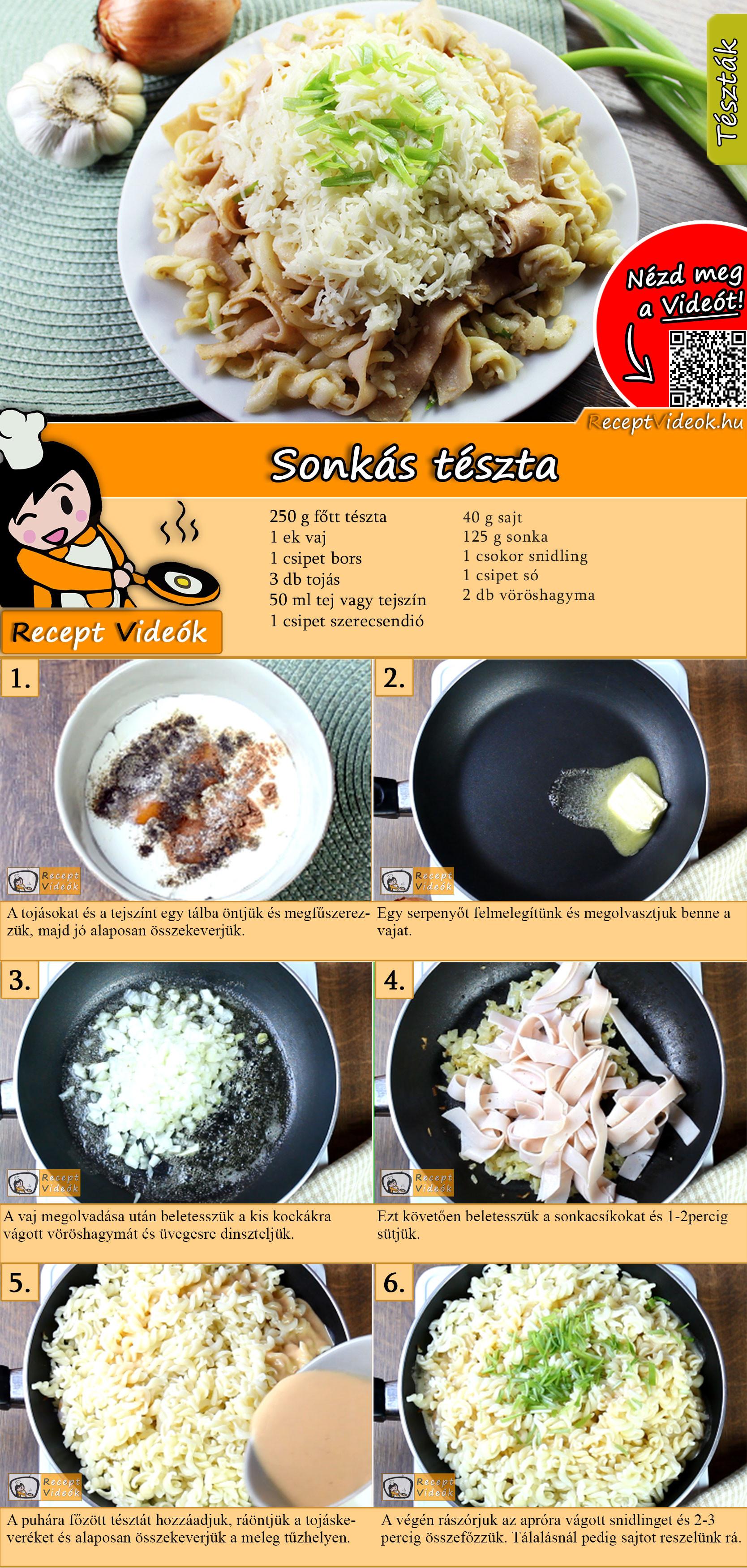 Sonkás tészta recept elkészítése videóval