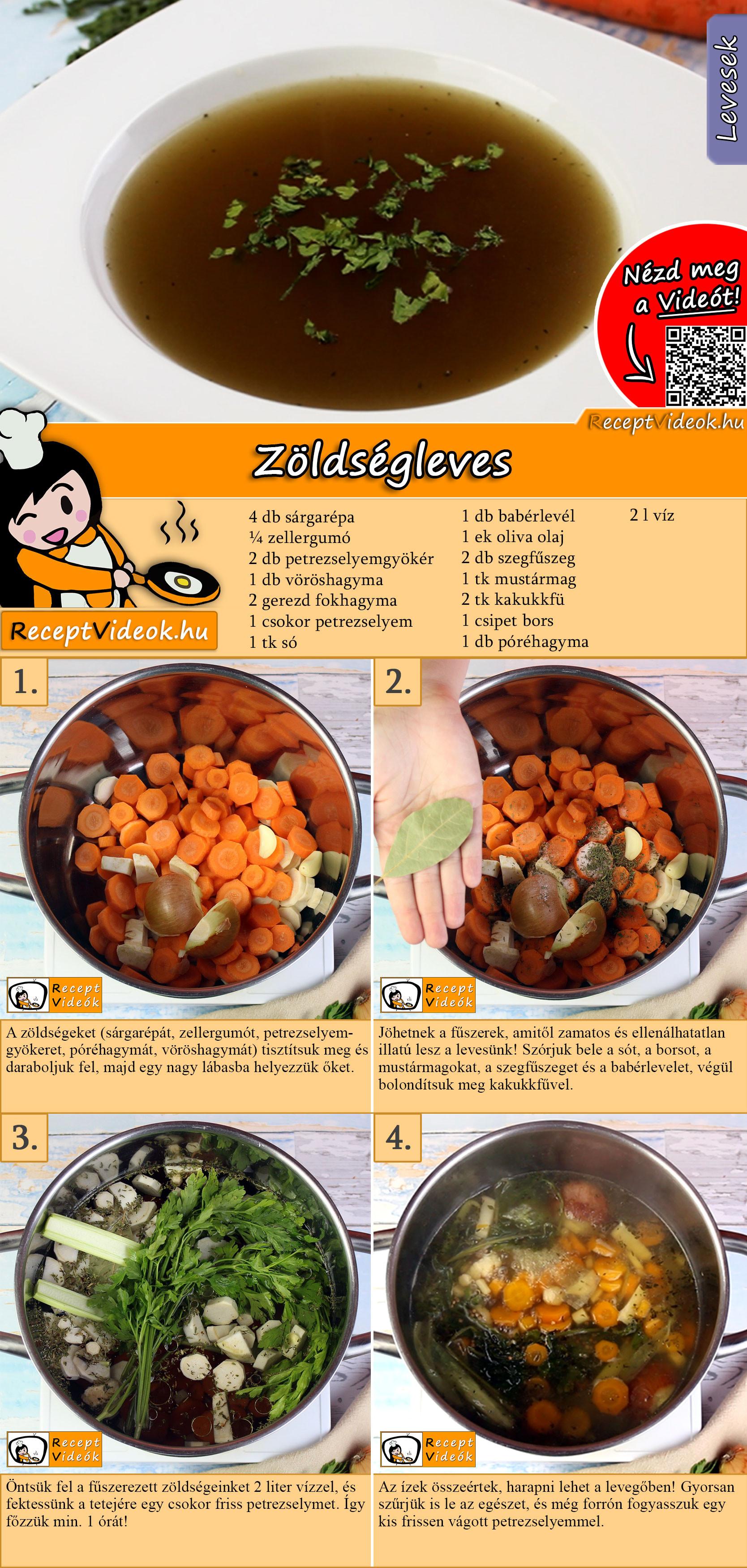 Zöldségleves recept elkészítése videóval