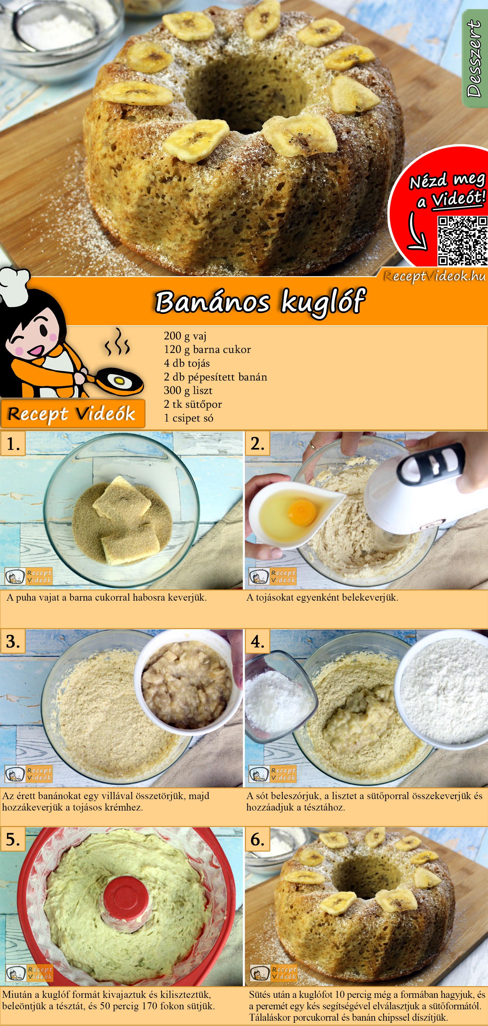 Banános kuglóf recept elkészítése videóval
