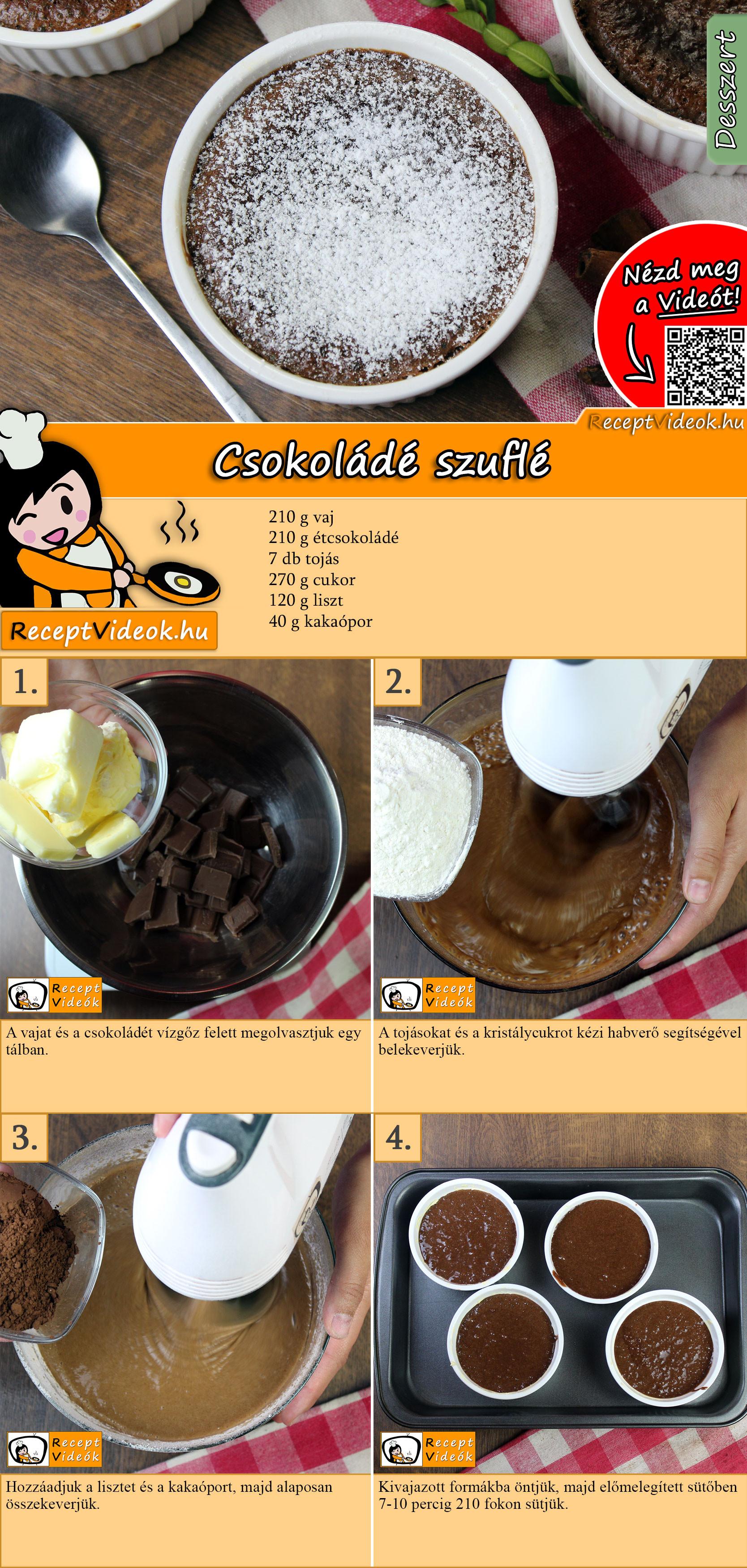 Csokoládé szuflé recept elkészítése videóval