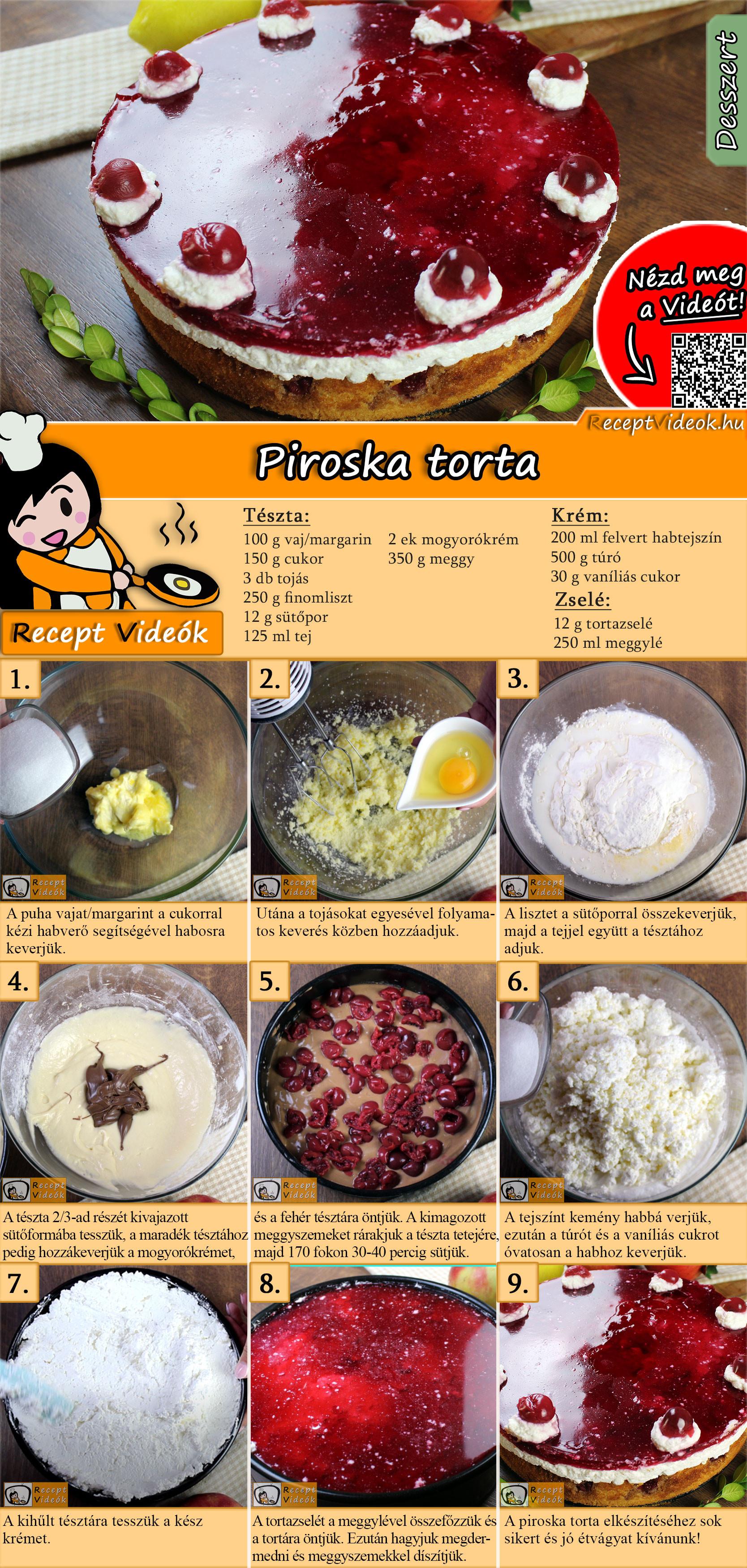 Piroska torta recept elkészítése videóval