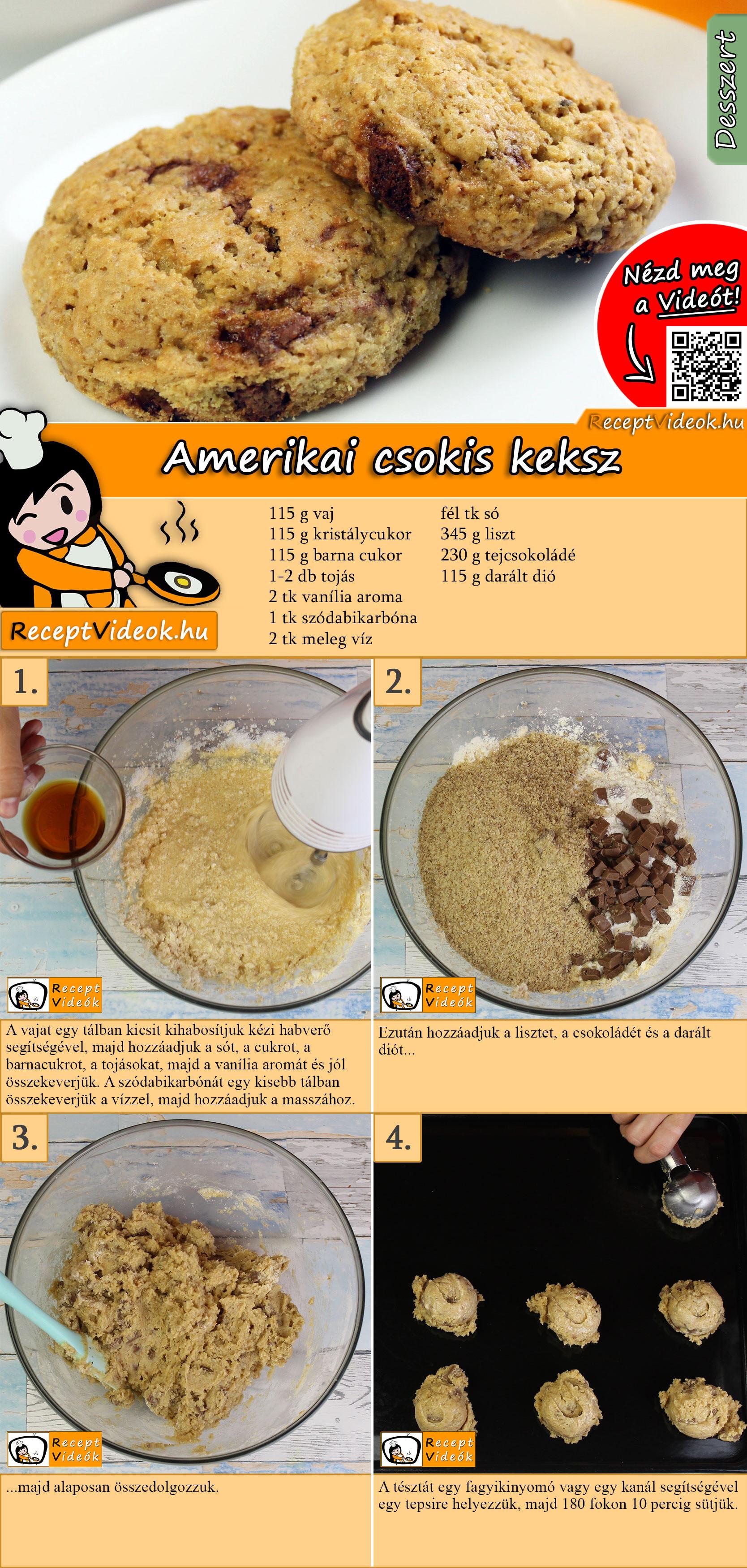 Amerikai csokis keksz recept elkészítése videóval