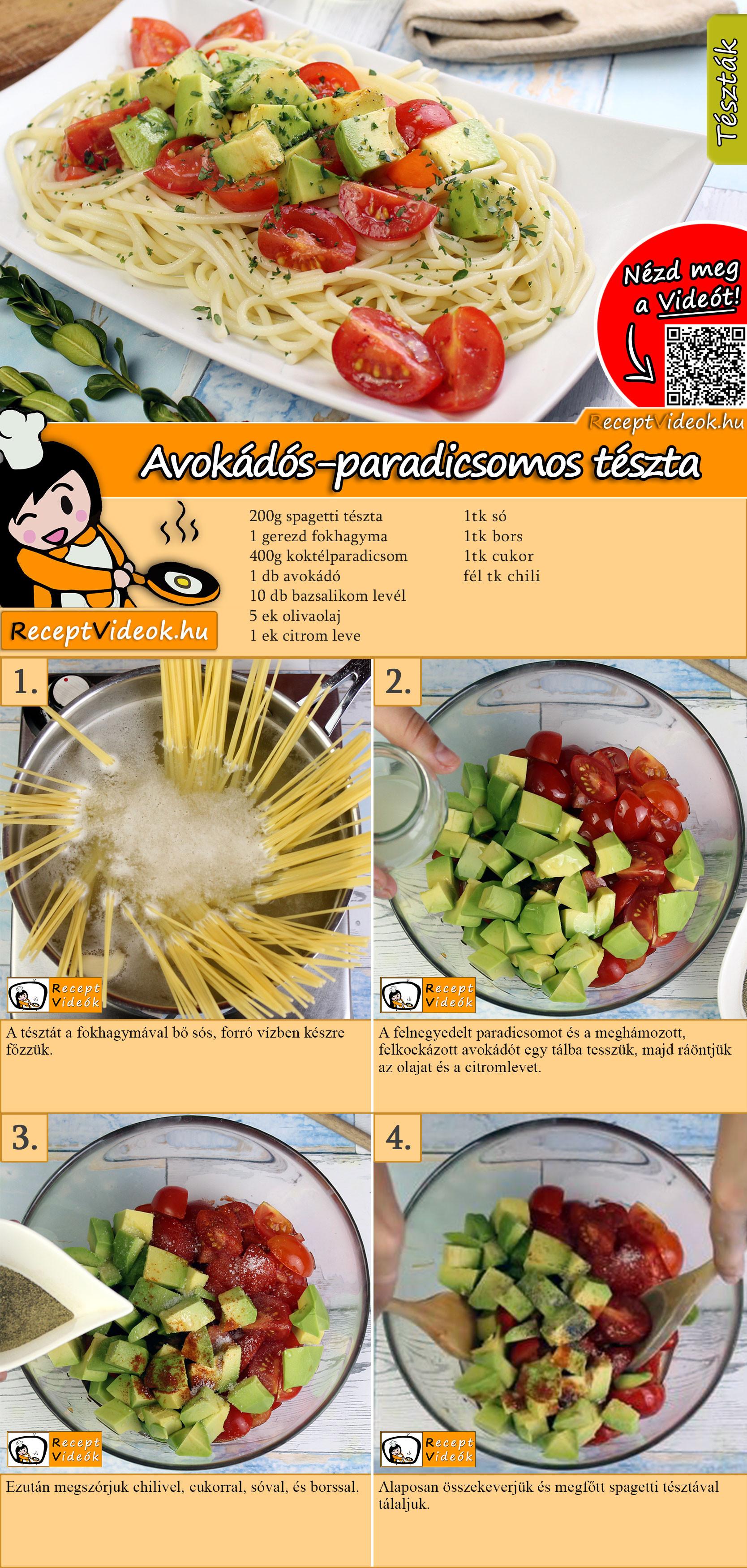 Avokádós-paradicsomos tészta recept elkészítése videóval