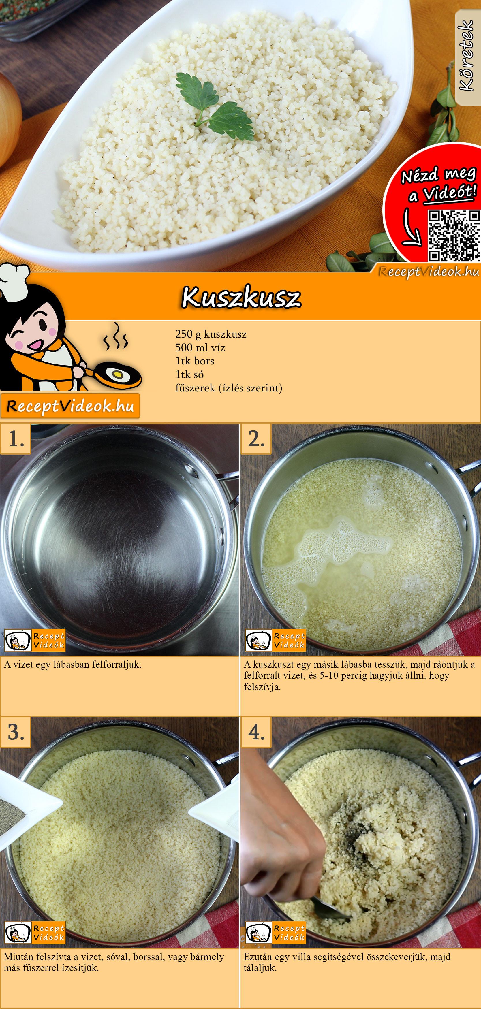 Kuszkusz recept elkészítése videóval