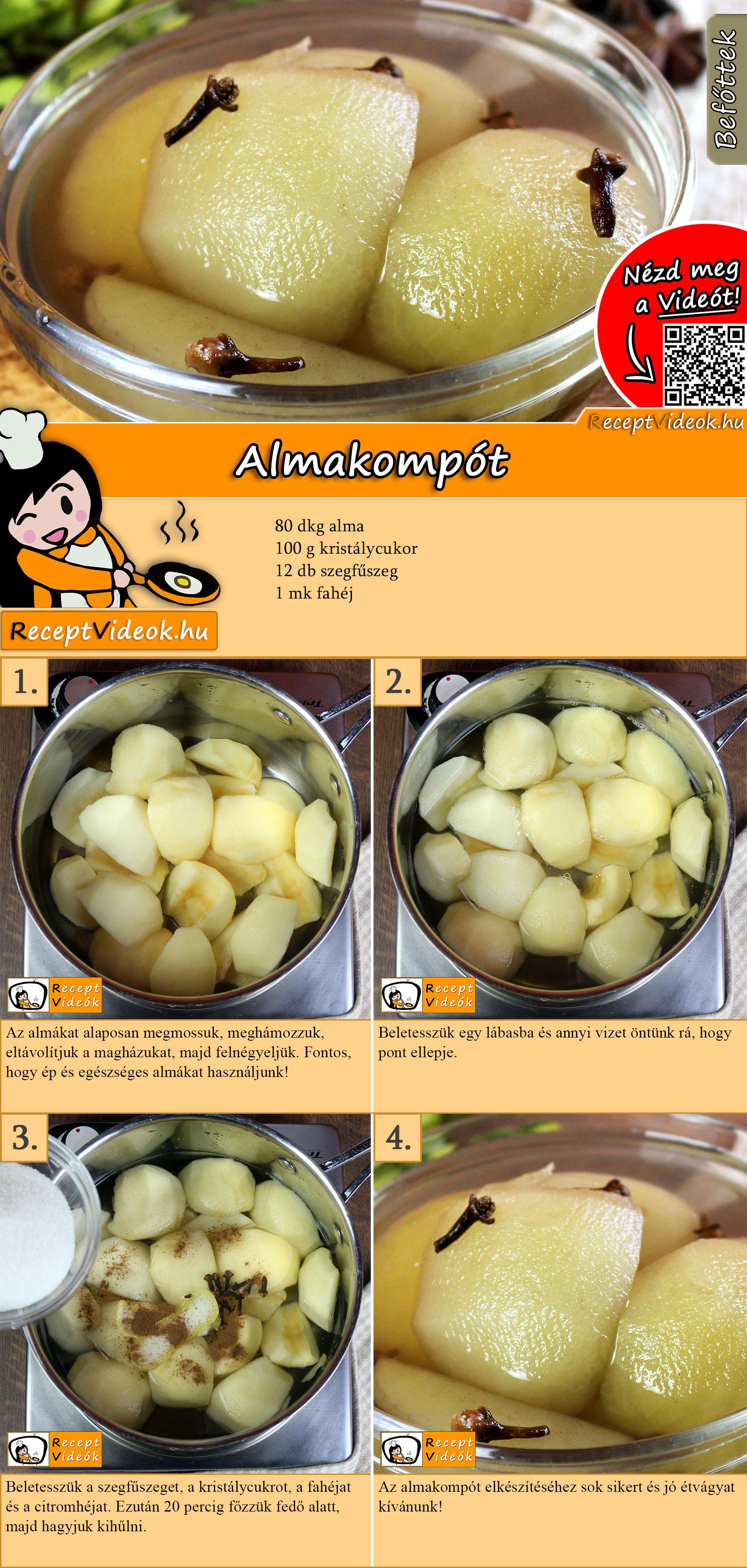 Almakompót recept elkészítése videóval