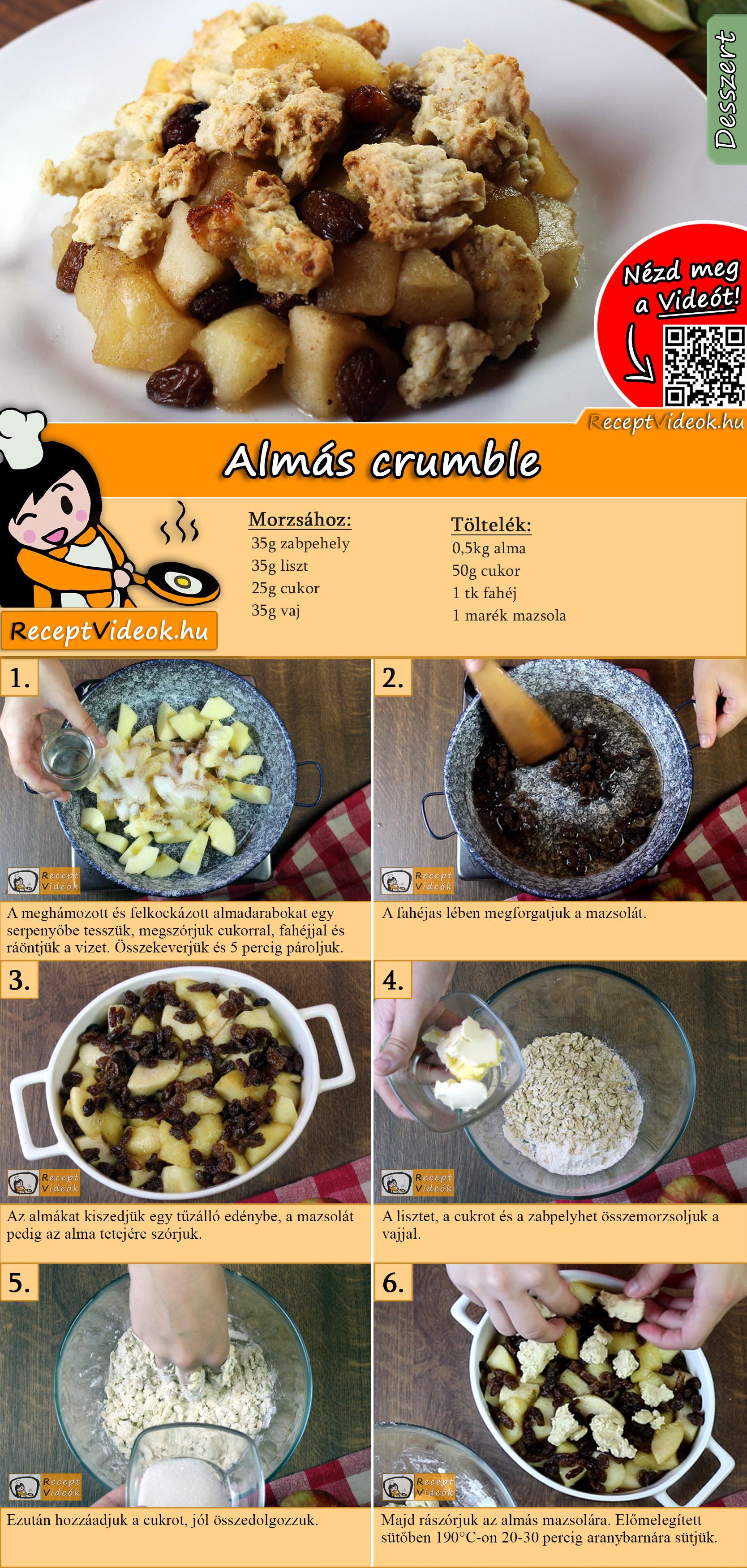 Almás crumble recept elkészítése videóval