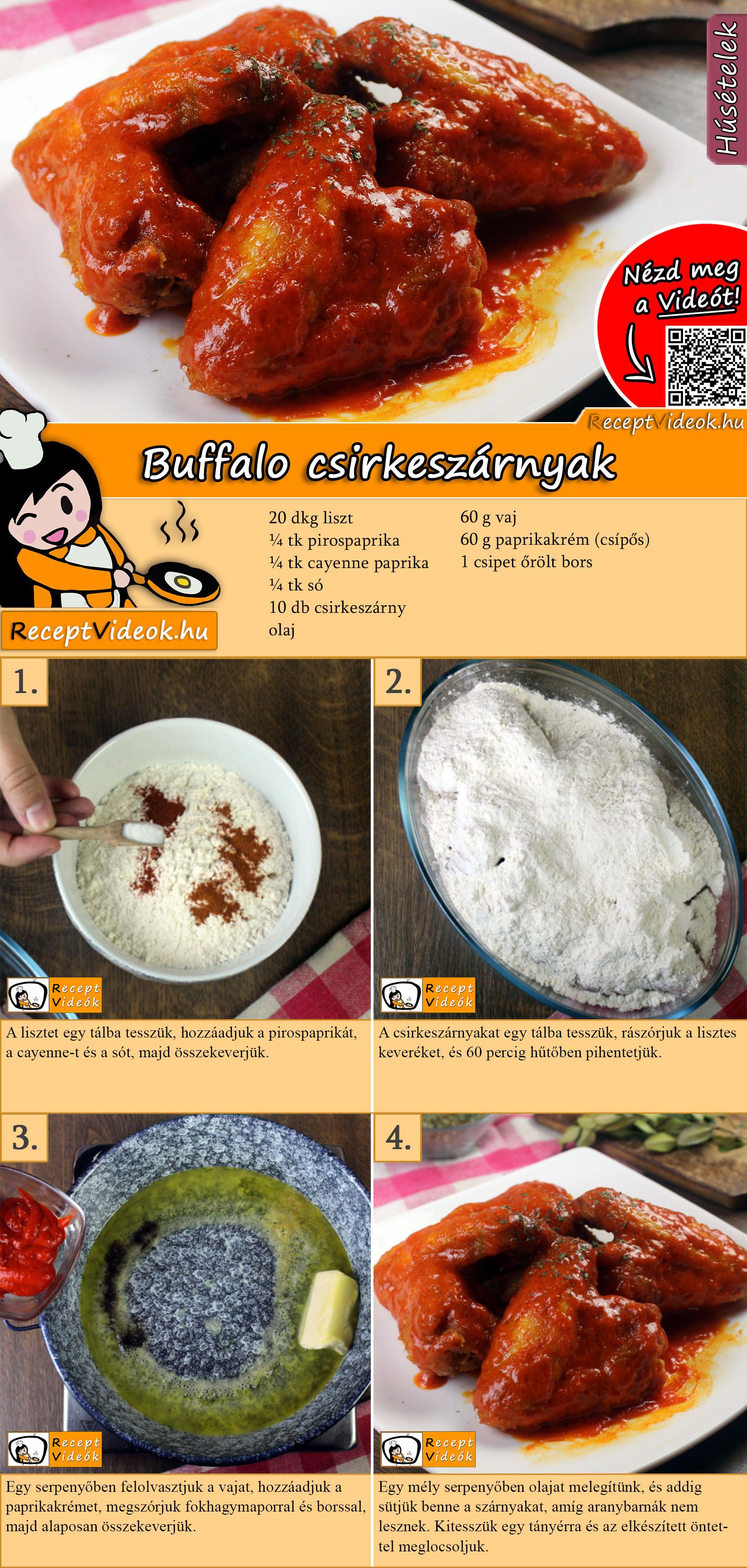 Buffalo csirkeszárnyak recept elkészítése videóval
