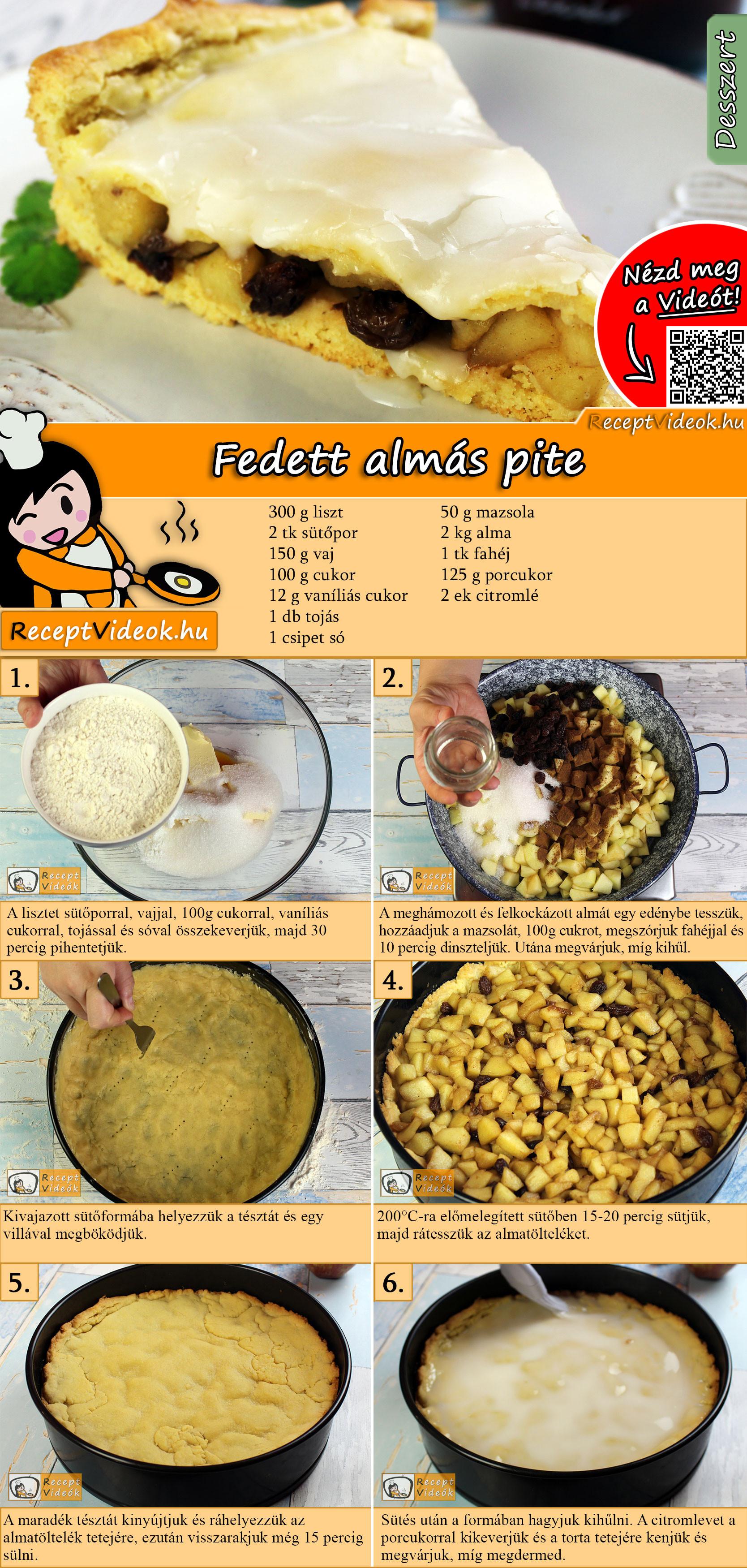 Fedett almás pite recept elkészítése videóval