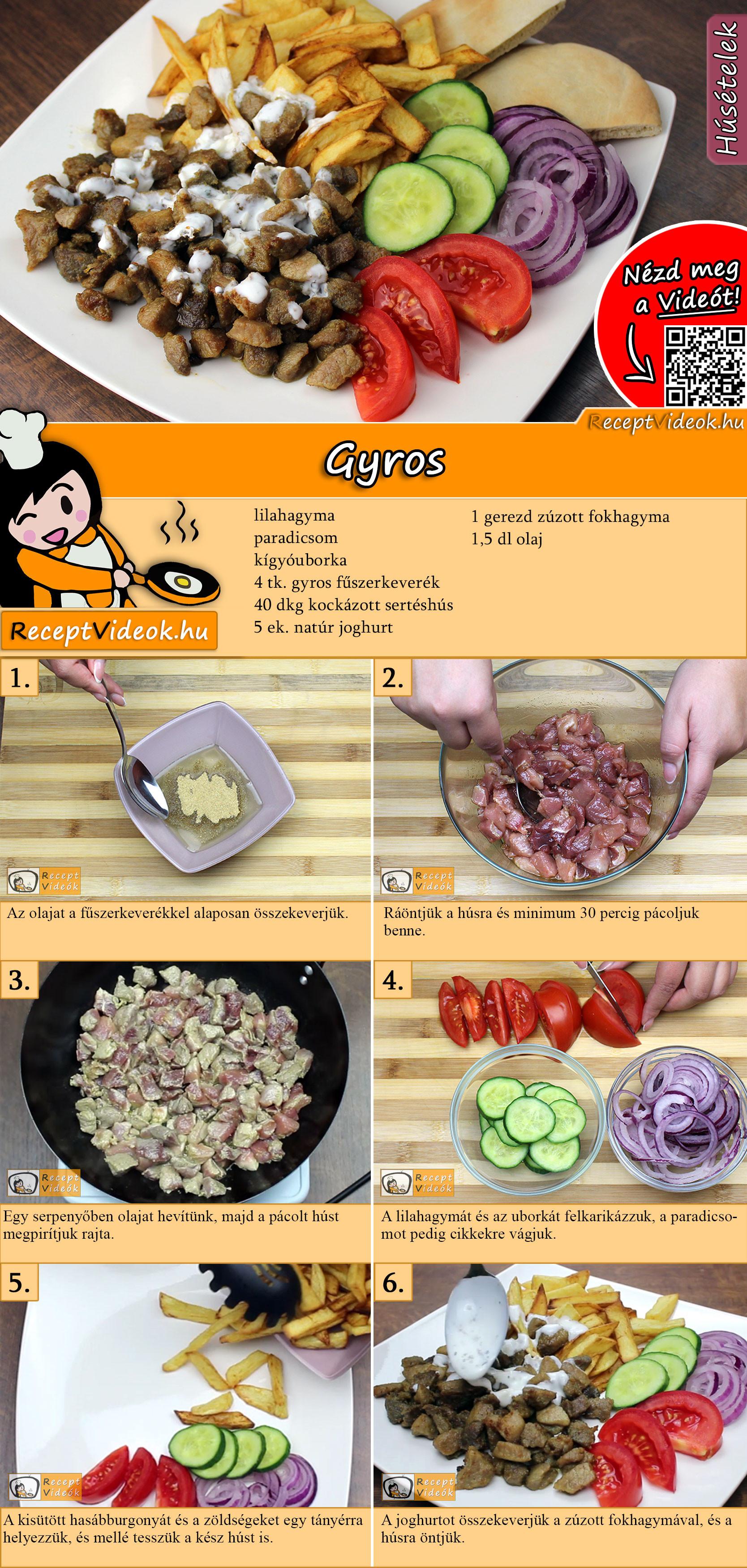 Gyros recept elkészítése videóval